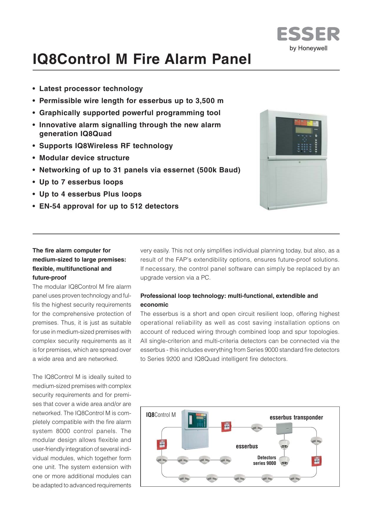 Iq8control M Fire Alarm Panel Intelligent System Schematic Diagram