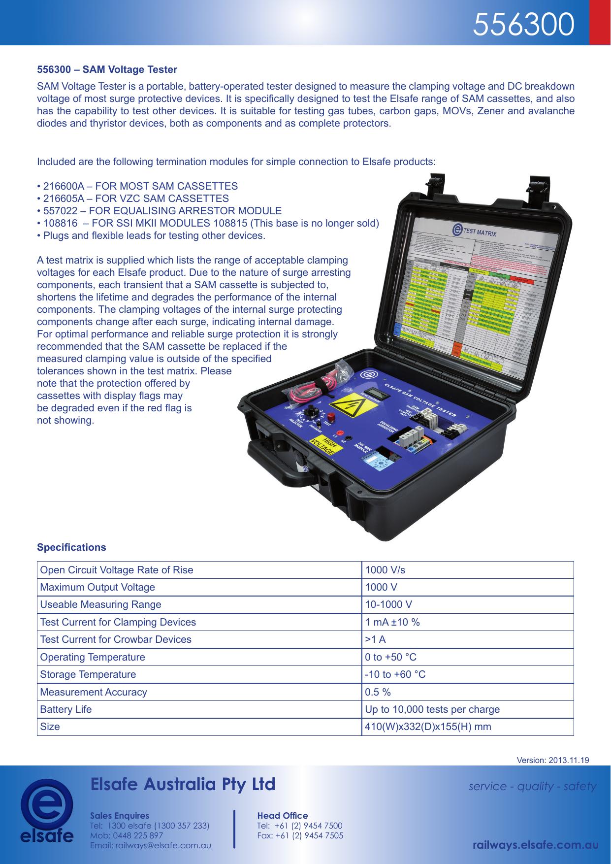 Elsafe Australia Pty Ltd Thyristor Tester