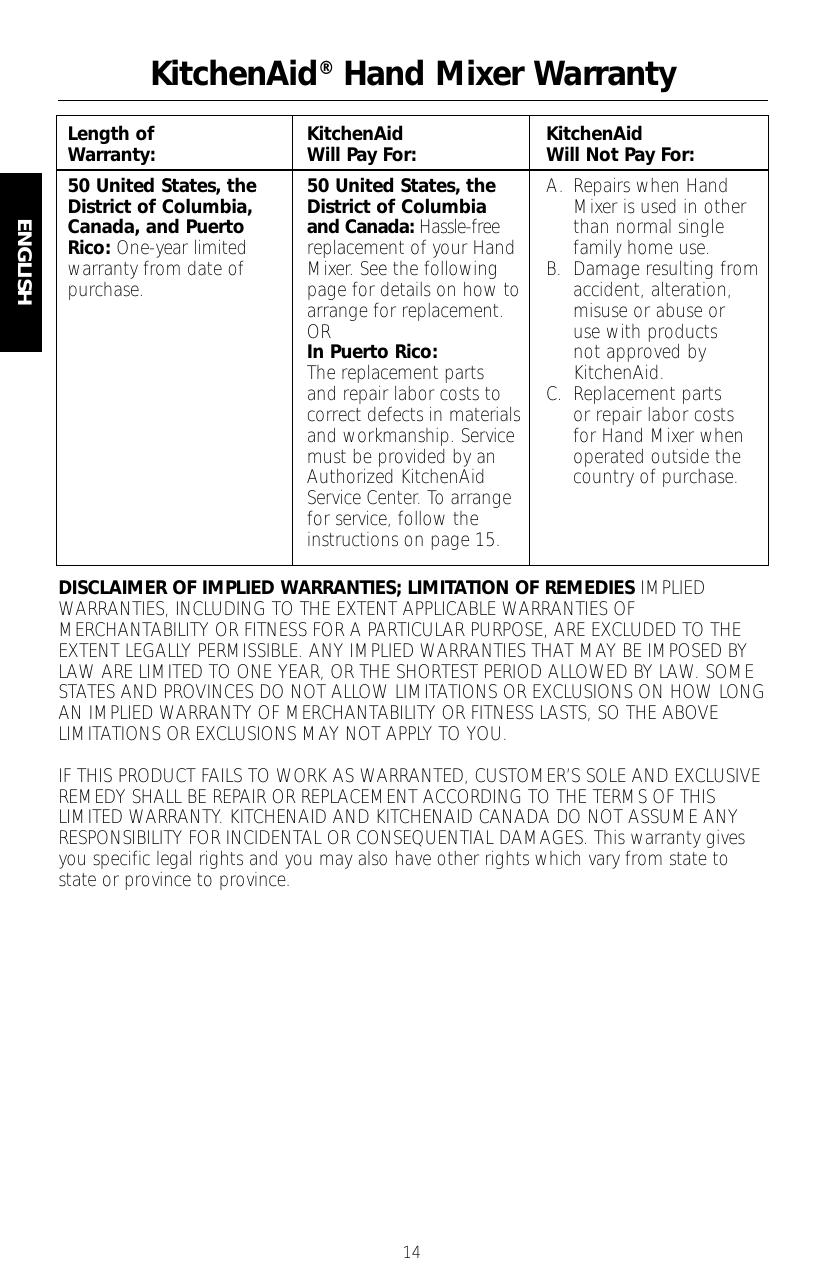 KitchenAid® Hand Mixer Warranty   manualzz.com