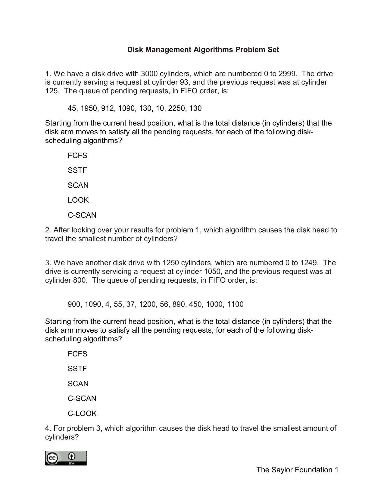 The Saylor Foundation 1 Disk Management Algorithms Problem