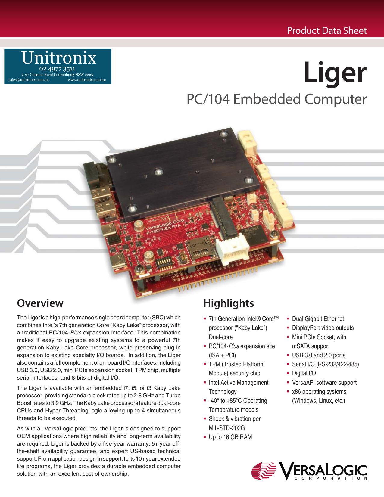 Liger PC/104 Format Single Board Computer | manualzz com