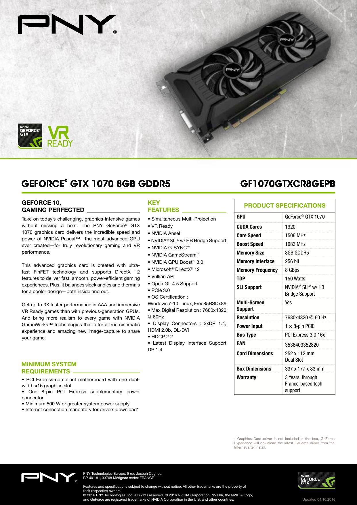 geforce® gtx 1070 8gb gddr5 gf1070gtxcr8gepb | manualzz com