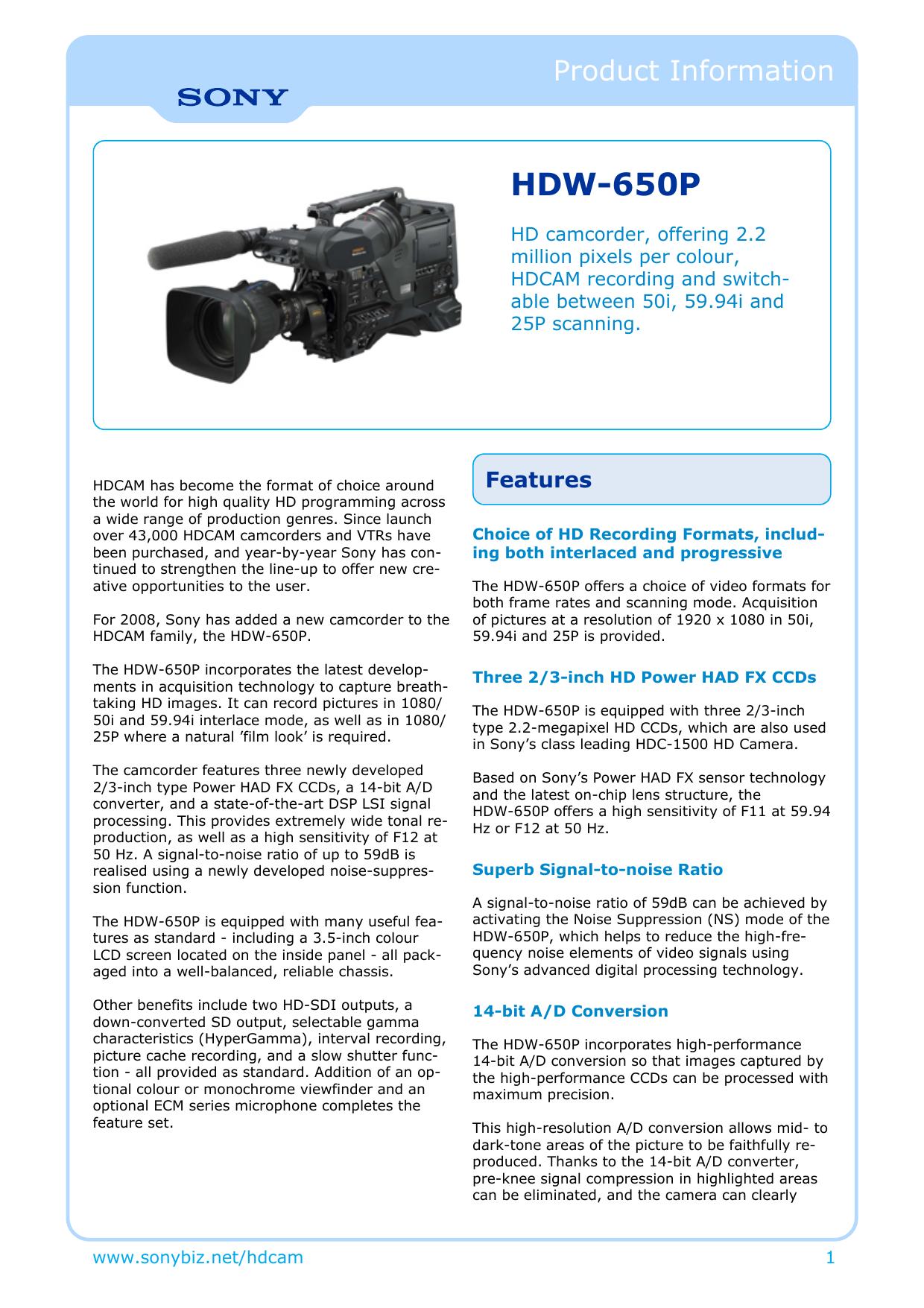 Sony : odwp product_information title : HDW   manualzz com