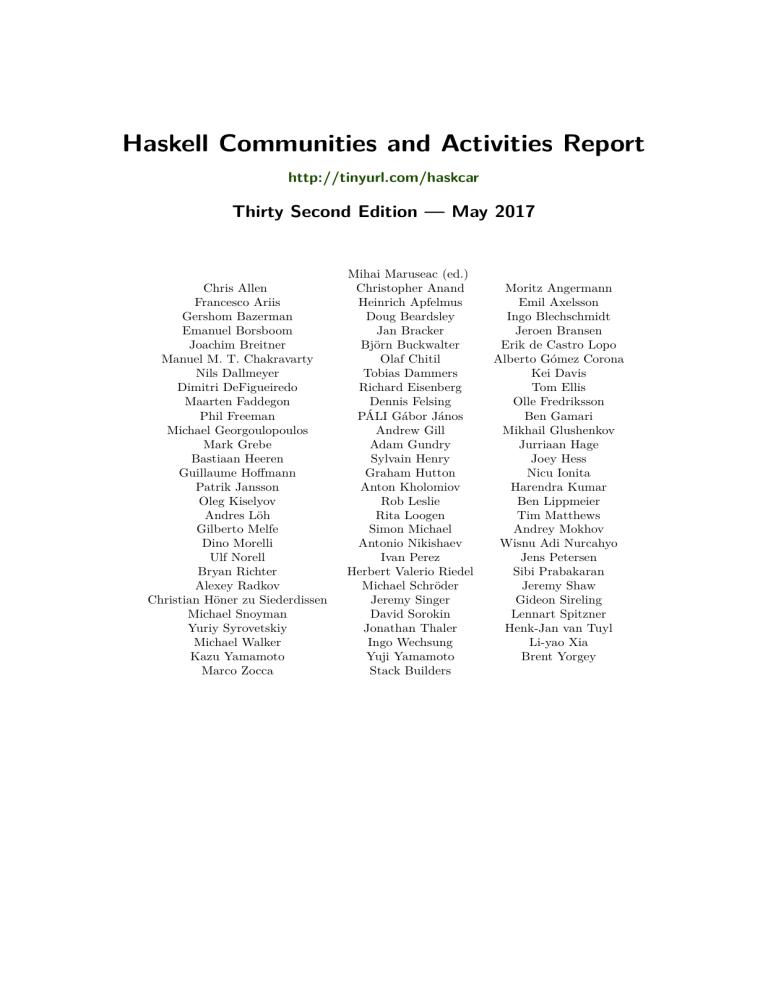 Haskell Communities And Activities Report Manualzz