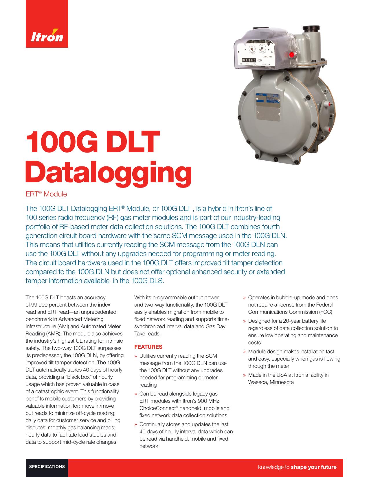 100G DLT Datalogging - Gas Products Sales, Inc   manualzz.com Itron W Ert Wiring Diagrams on