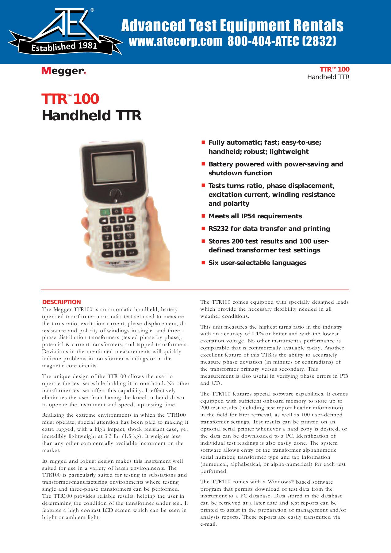 TTR™100 Handheld TTR - Advanced Test Equipment Rentals
