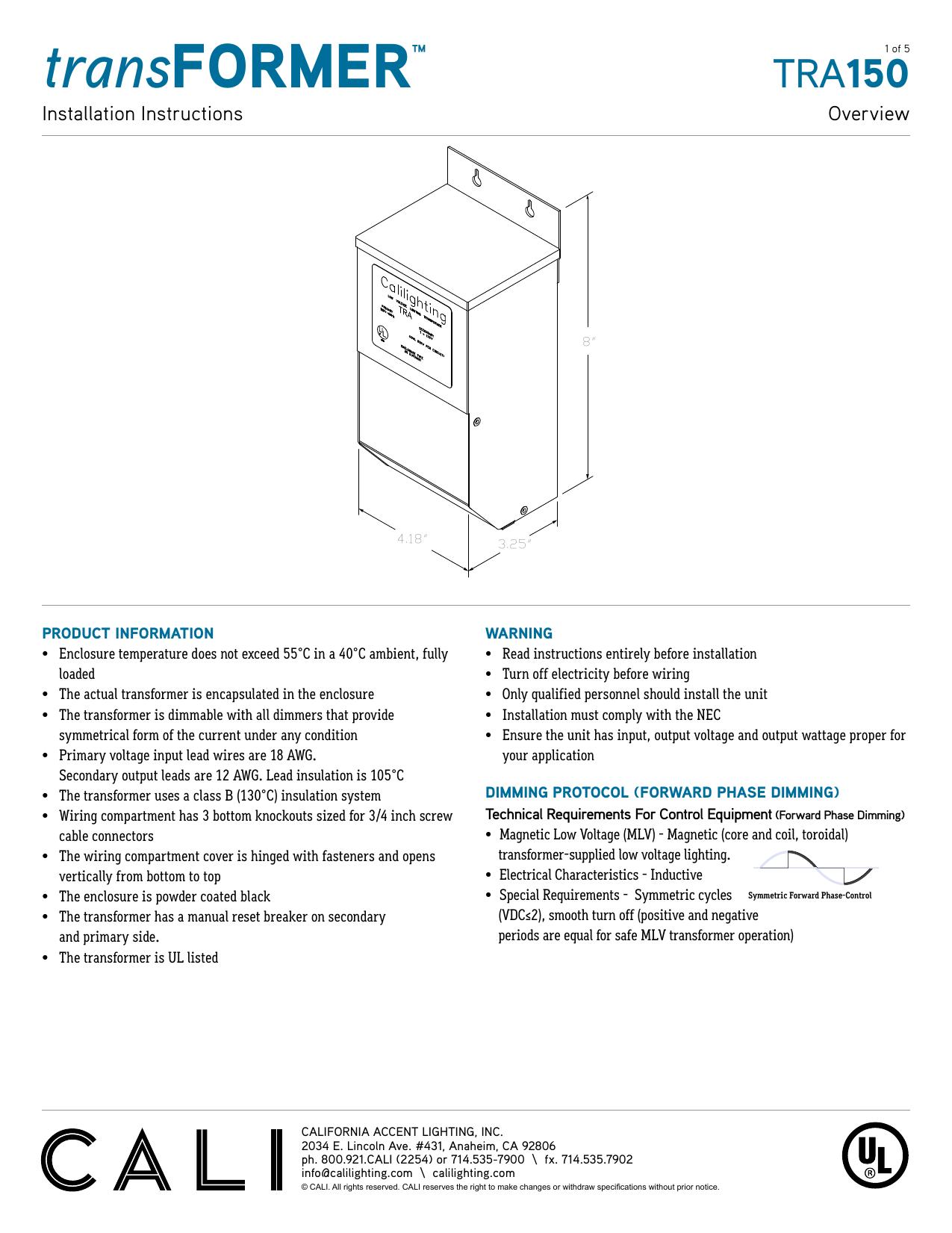 Transformer California Accent Lighting Manualzz