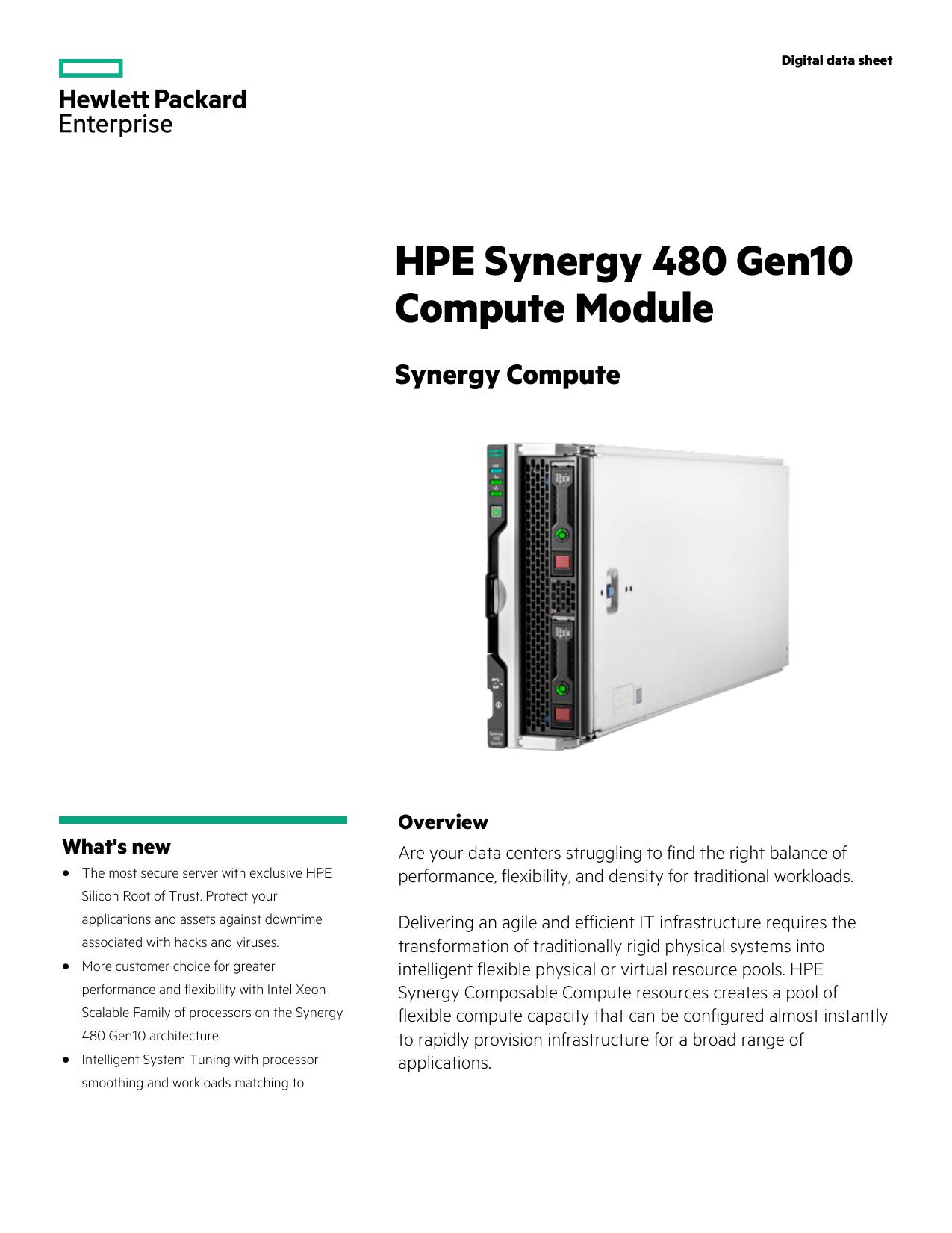 HPE Synergy 480 Gen10 Compute Module Digital   manualzz com
