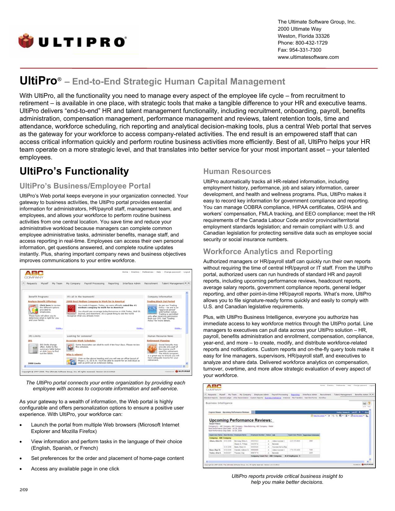 UltiPro`s Functionality | manualzz com