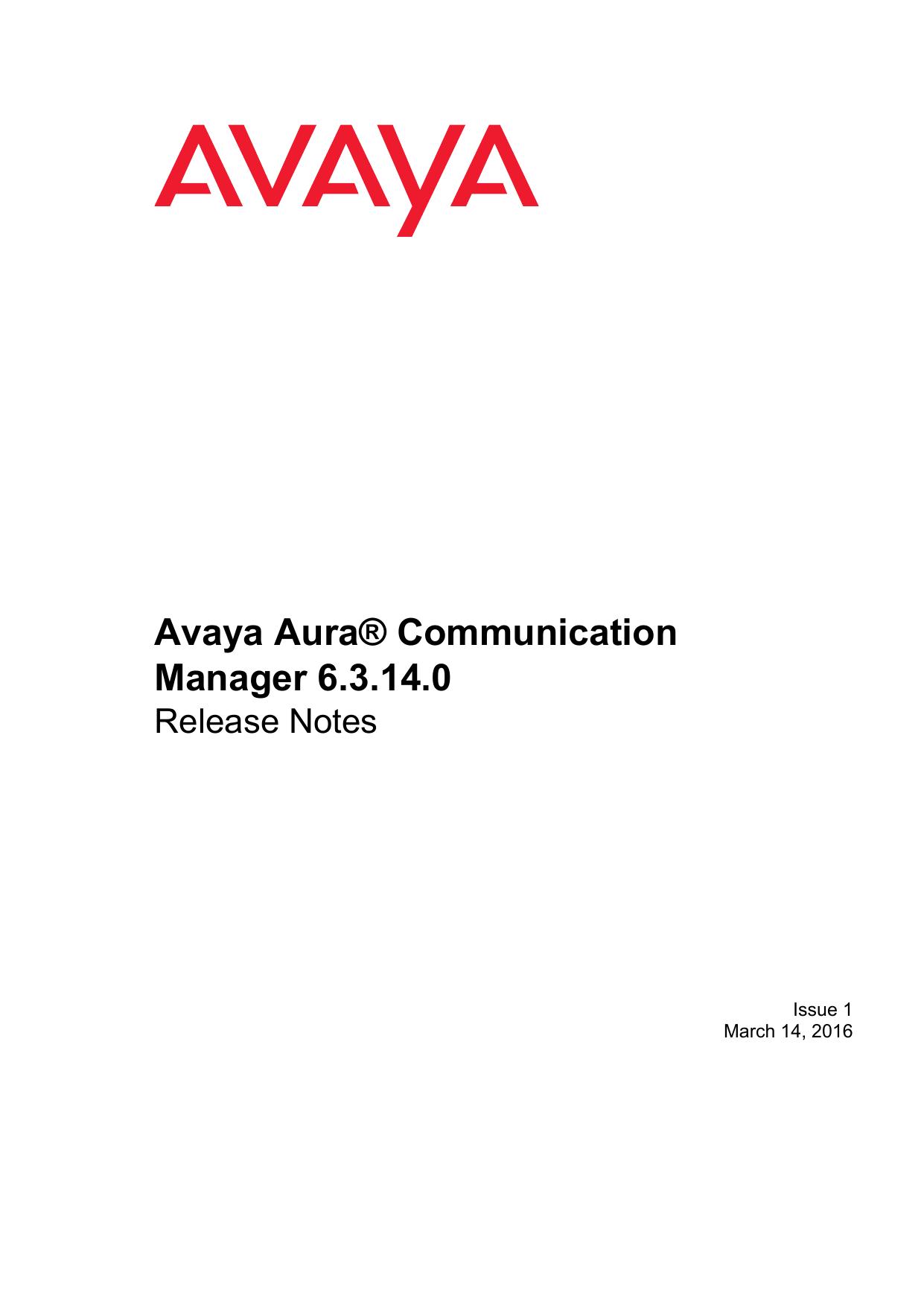 Avaya Aura Communication Manager 6 3 14 0 | manualzz com