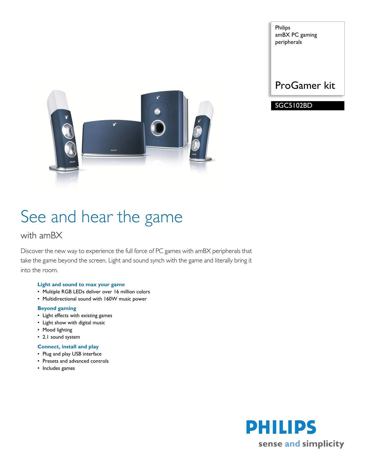 SGC5102BD/17 Philips amBX PC gaming peripherals | manualzz com