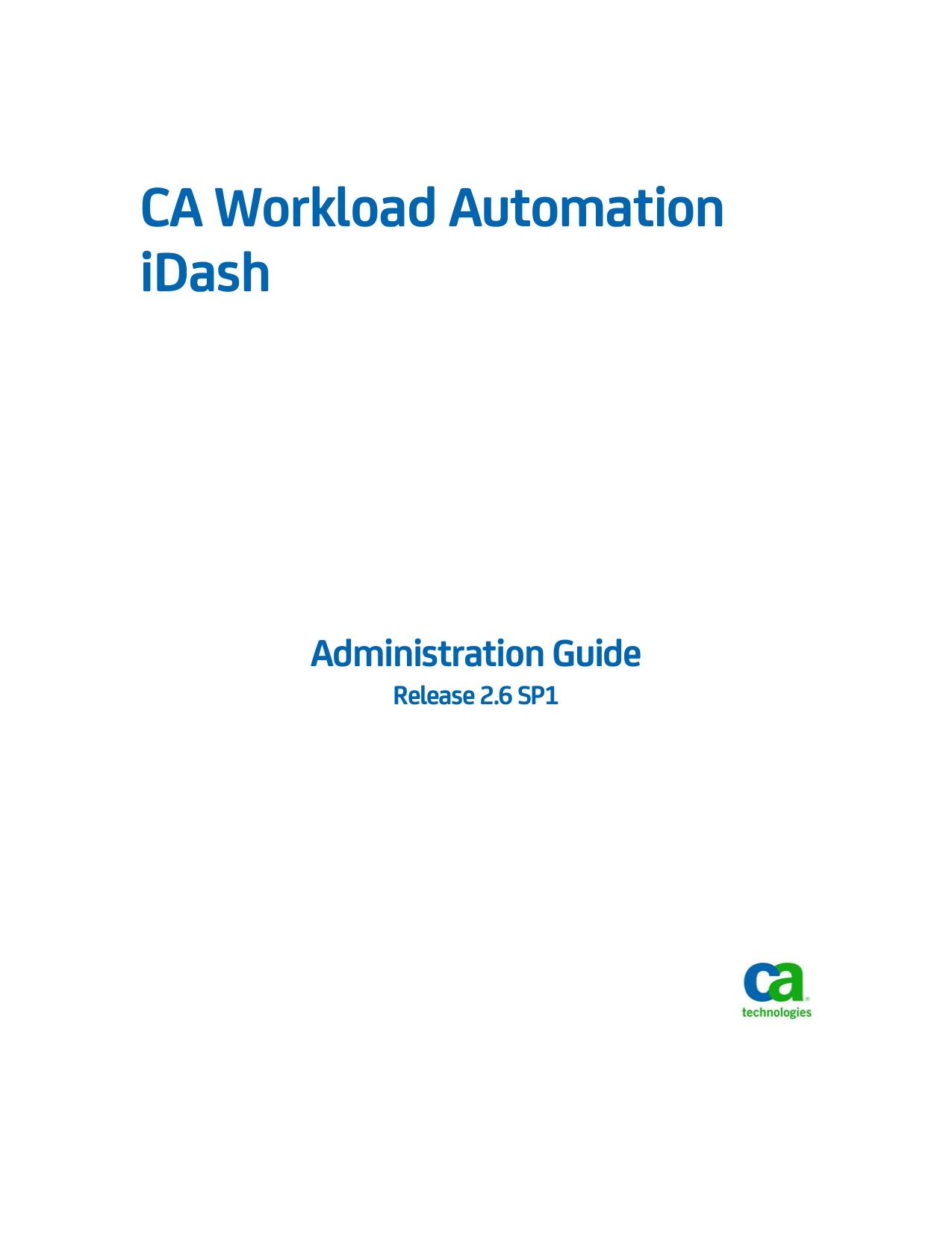 CA Workload Automation iDash Administration | manualzz com