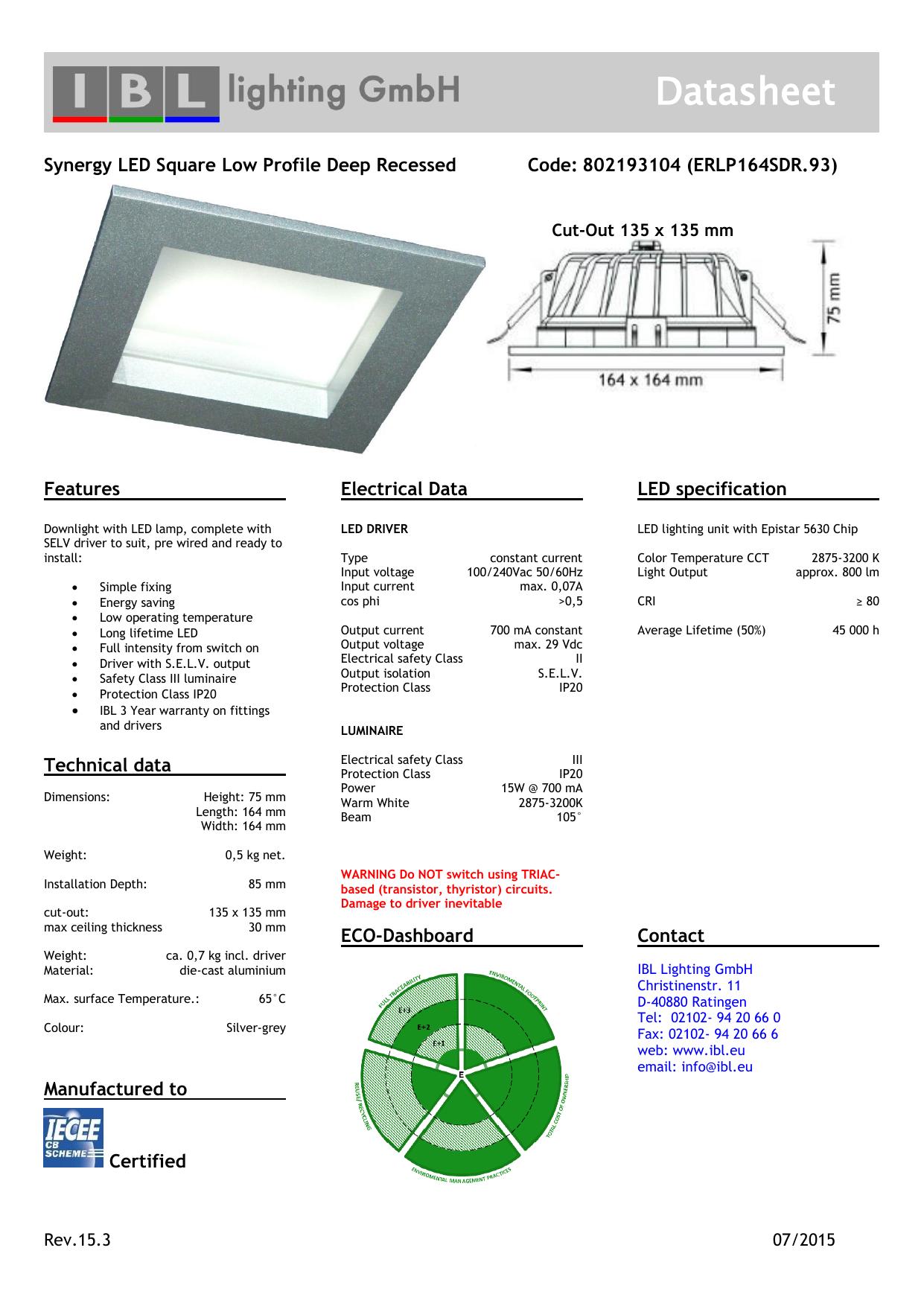 Datasheet Ibl Lighting Gmbh Manualzz