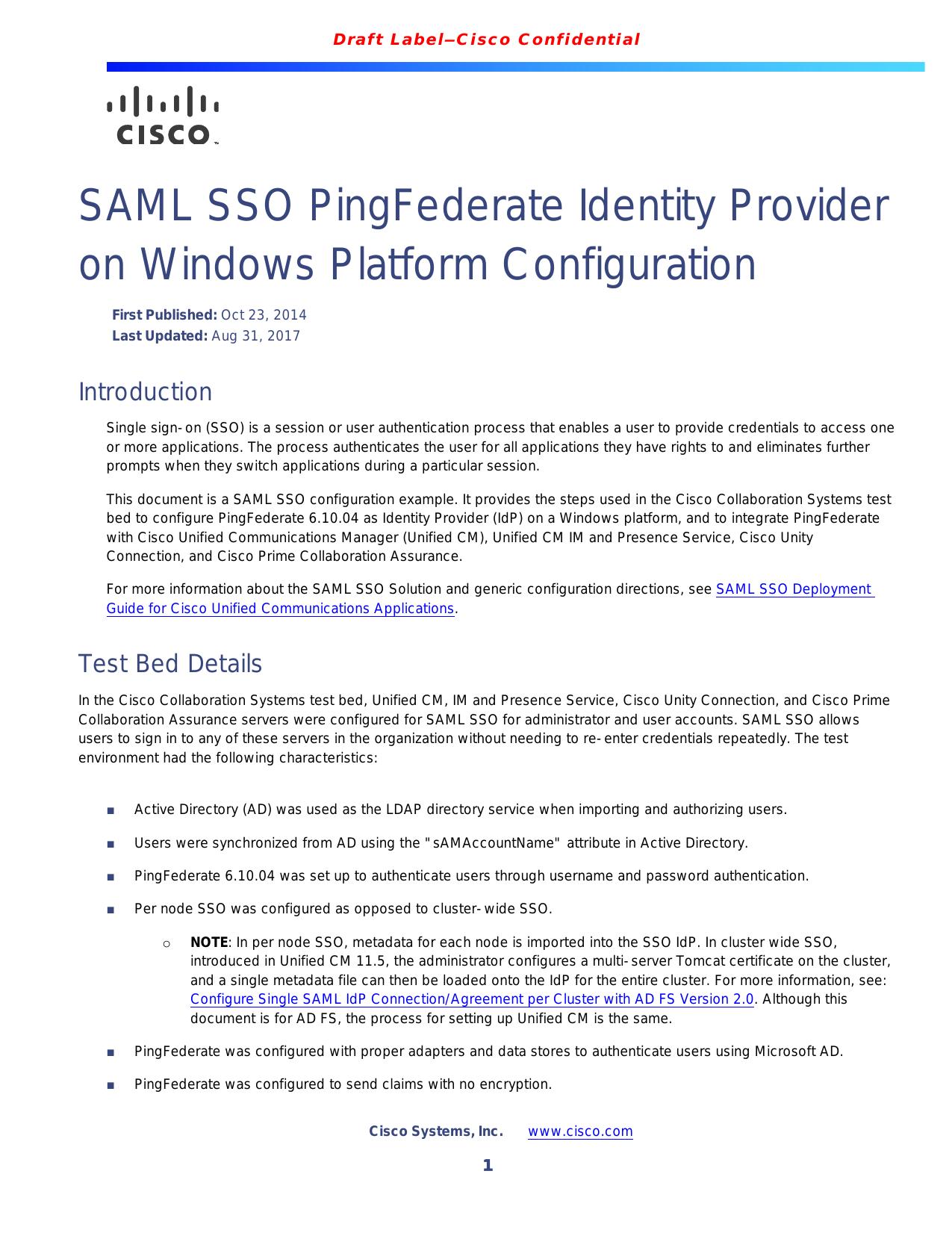 SAML SSO PingFederate Identity Provider on Windows