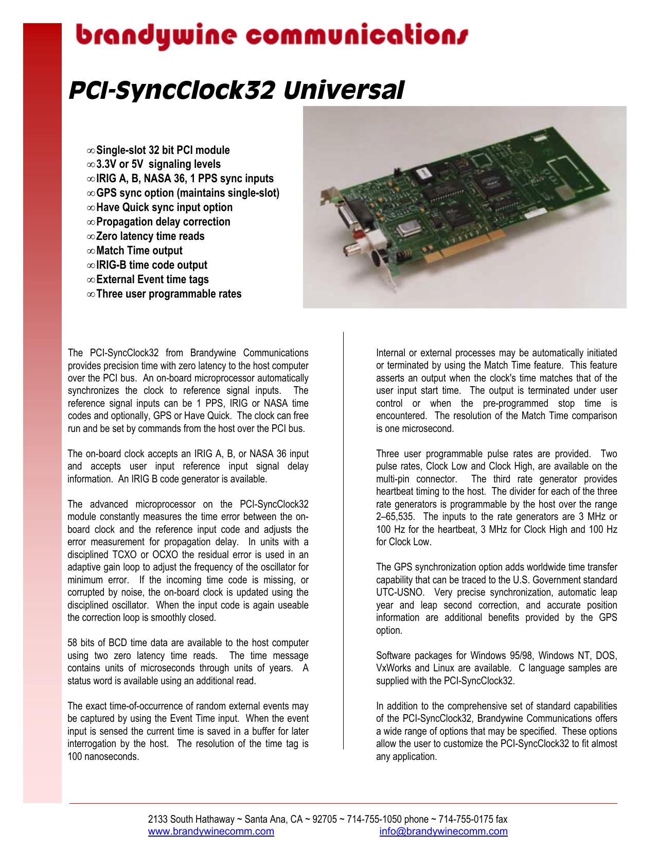 JXI2 -PCSyncclock 16 - Brandywine Communications | manualzz com