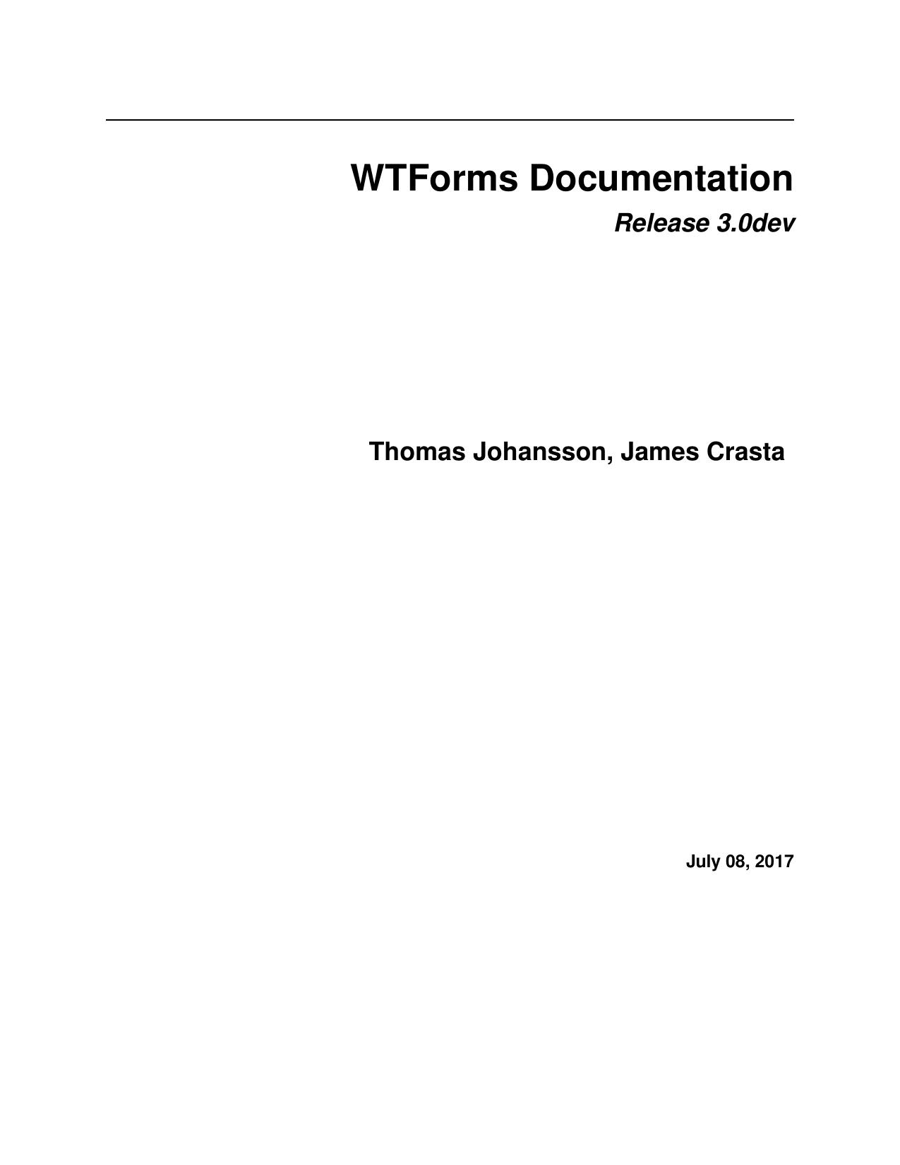 WTForms Documentation | manualzz com