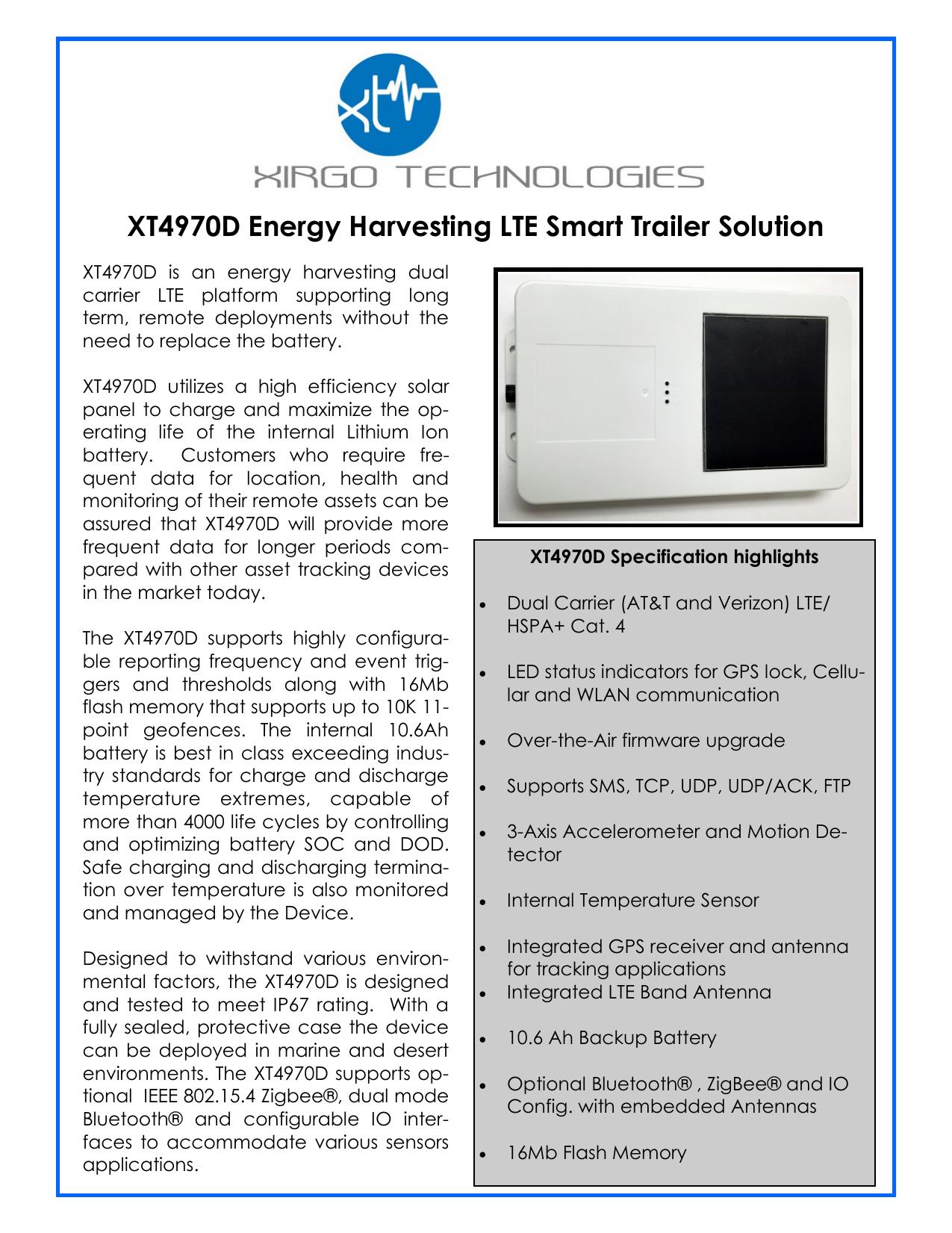XT4970D Energy Harvesting LTE Smart Trailer Solution | manualzz com