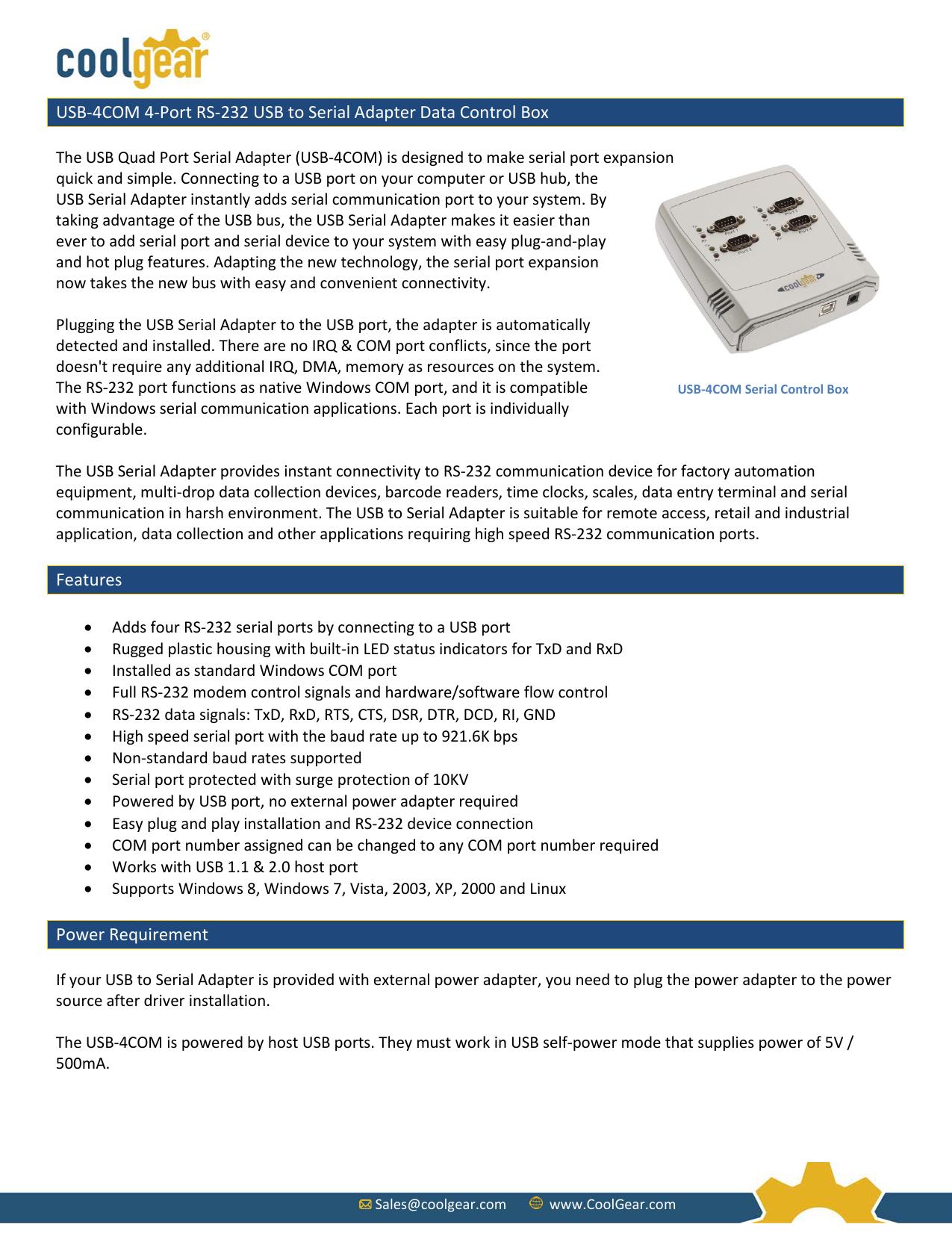 USB-4COM Quad Port RS-232 Serial Adapter Control Box