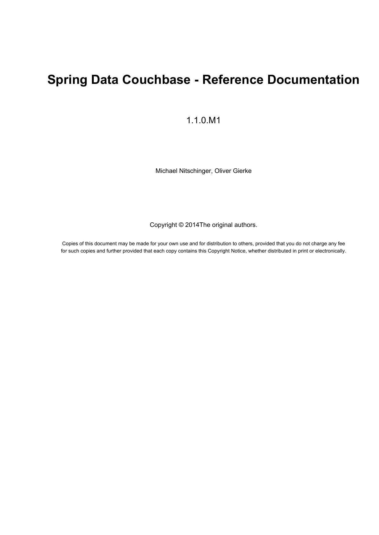 Spring Data Couchbase - Reference Documentation | manualzz com