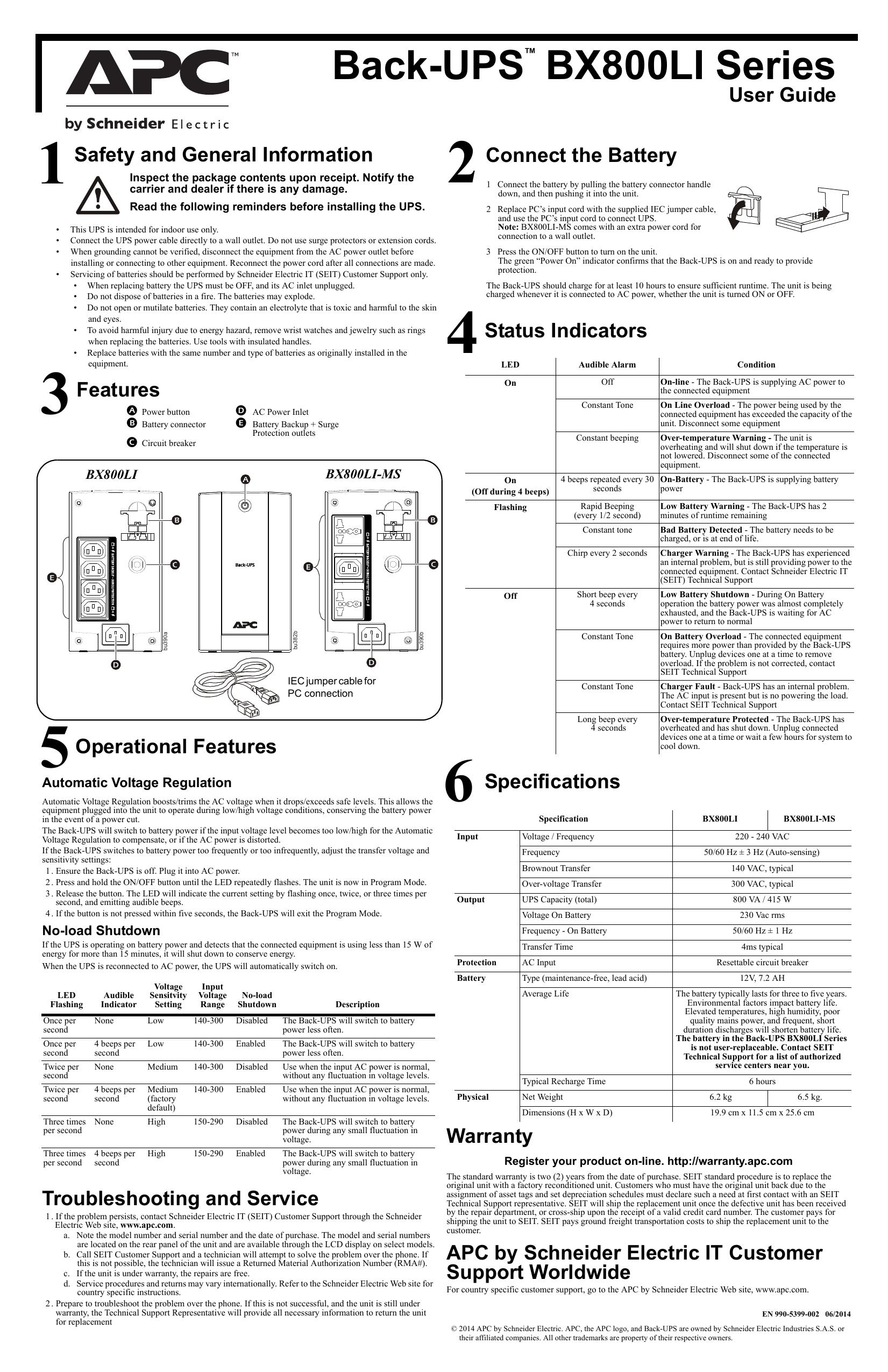 Back-UPS BX800LI Series Safety and General | manualzz com