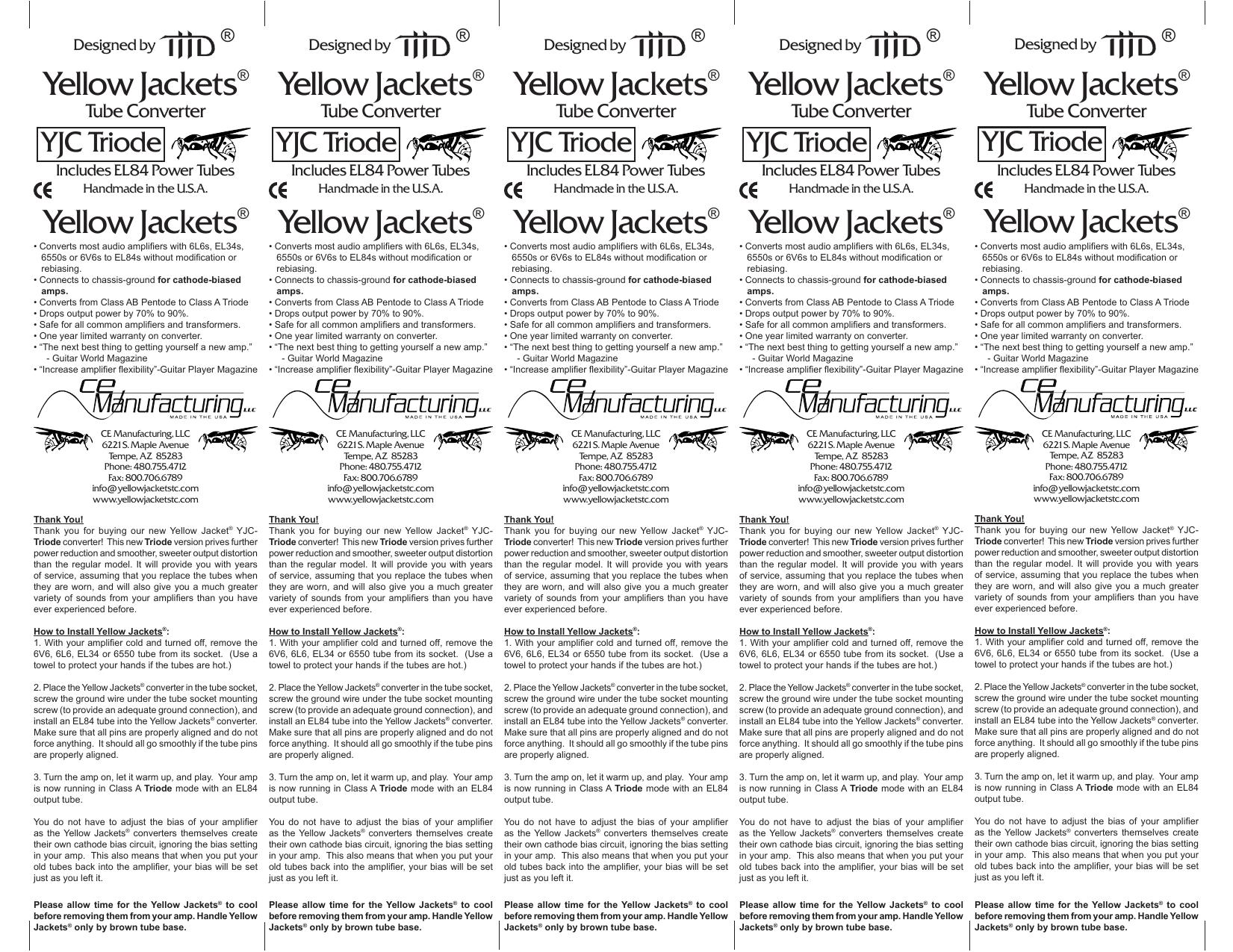 YJC-Triode Instruction Sheet | manualzz com