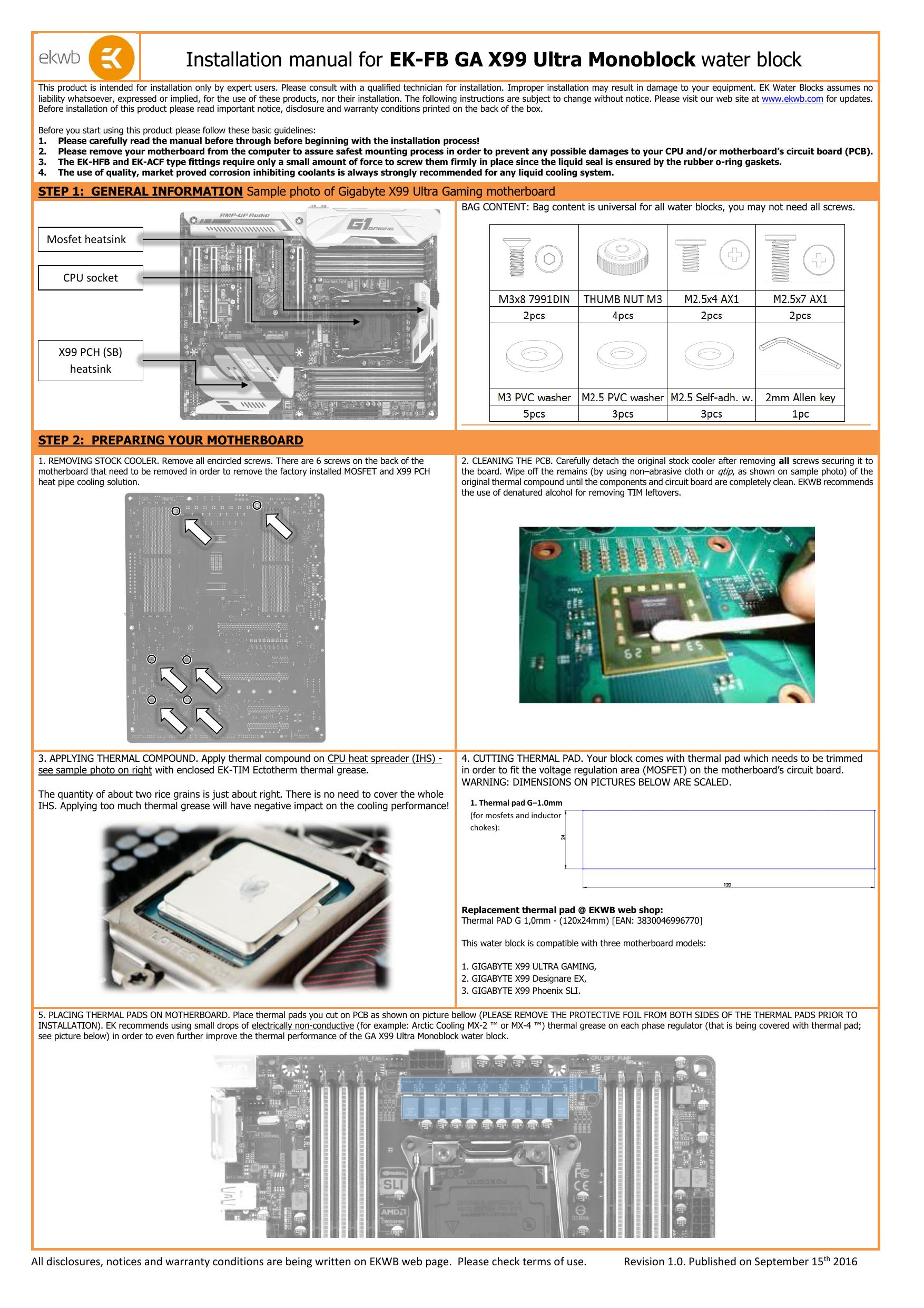 Installation manual for EK-FB GA X99 Ultra Monoblock | manualzz com