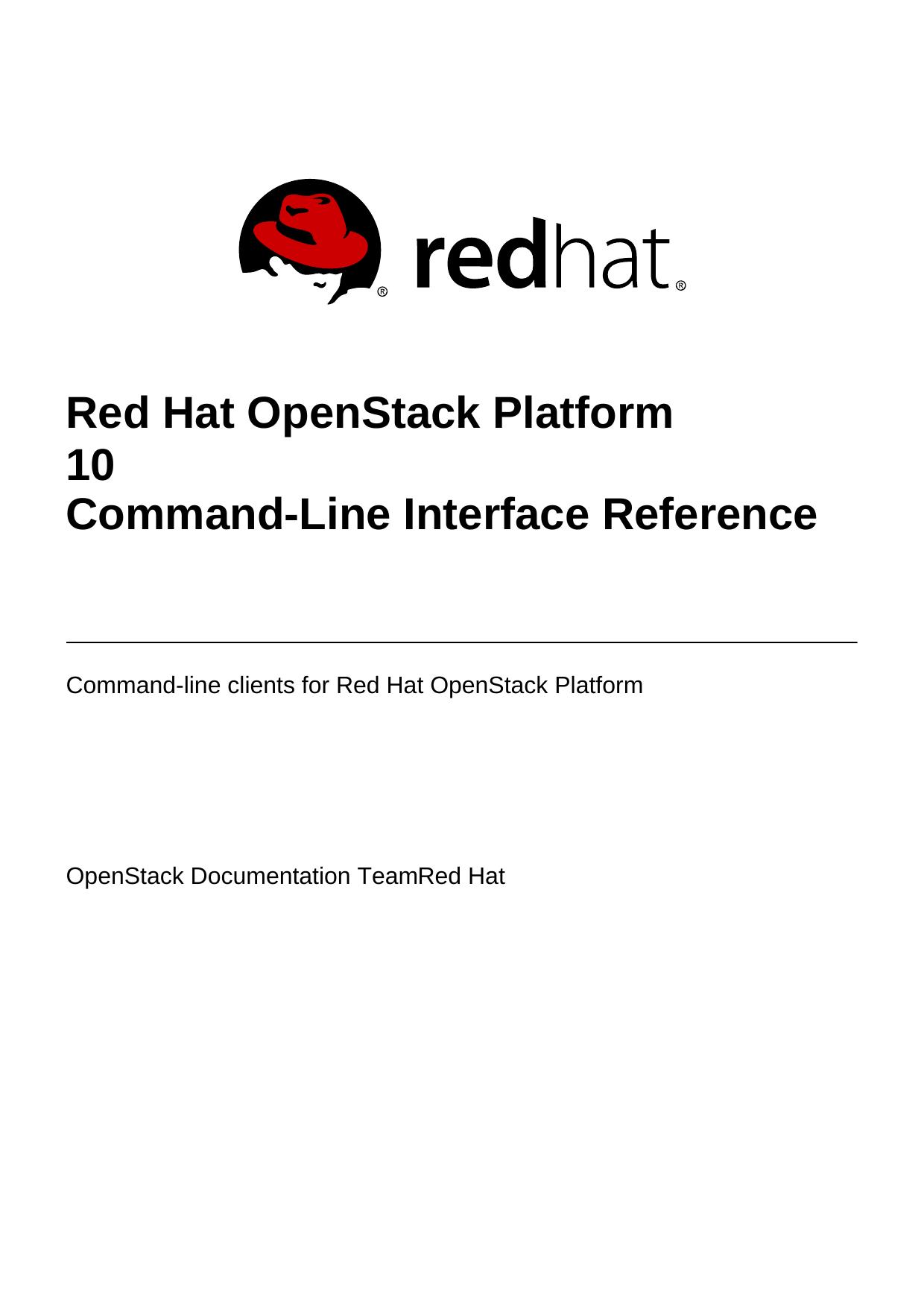 Red Hat OpenStack Platform 10 Command | manualzz com