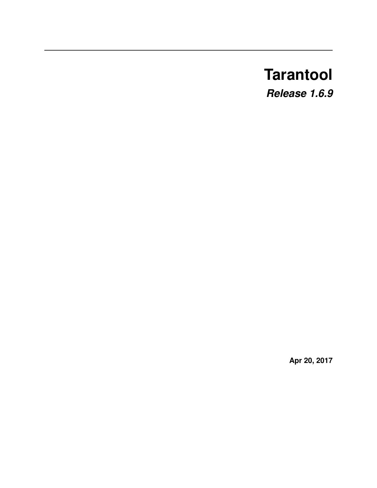 Tarantool Release 1 6 9 | manualzz com