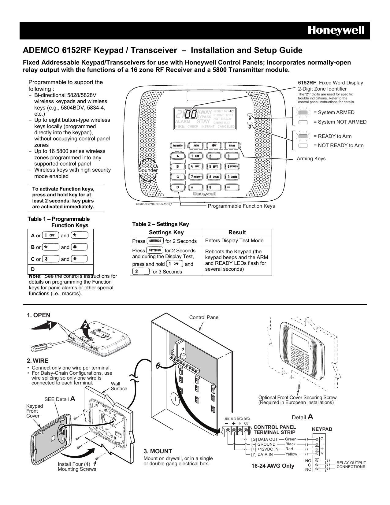 ADEMCO 6152RF Keypad / Transceiver – Installation and Setup ... on wiring diagrams for peterbilt trucks, flywheel key, ford key, valve key, honda key, tractor key, radiator key,