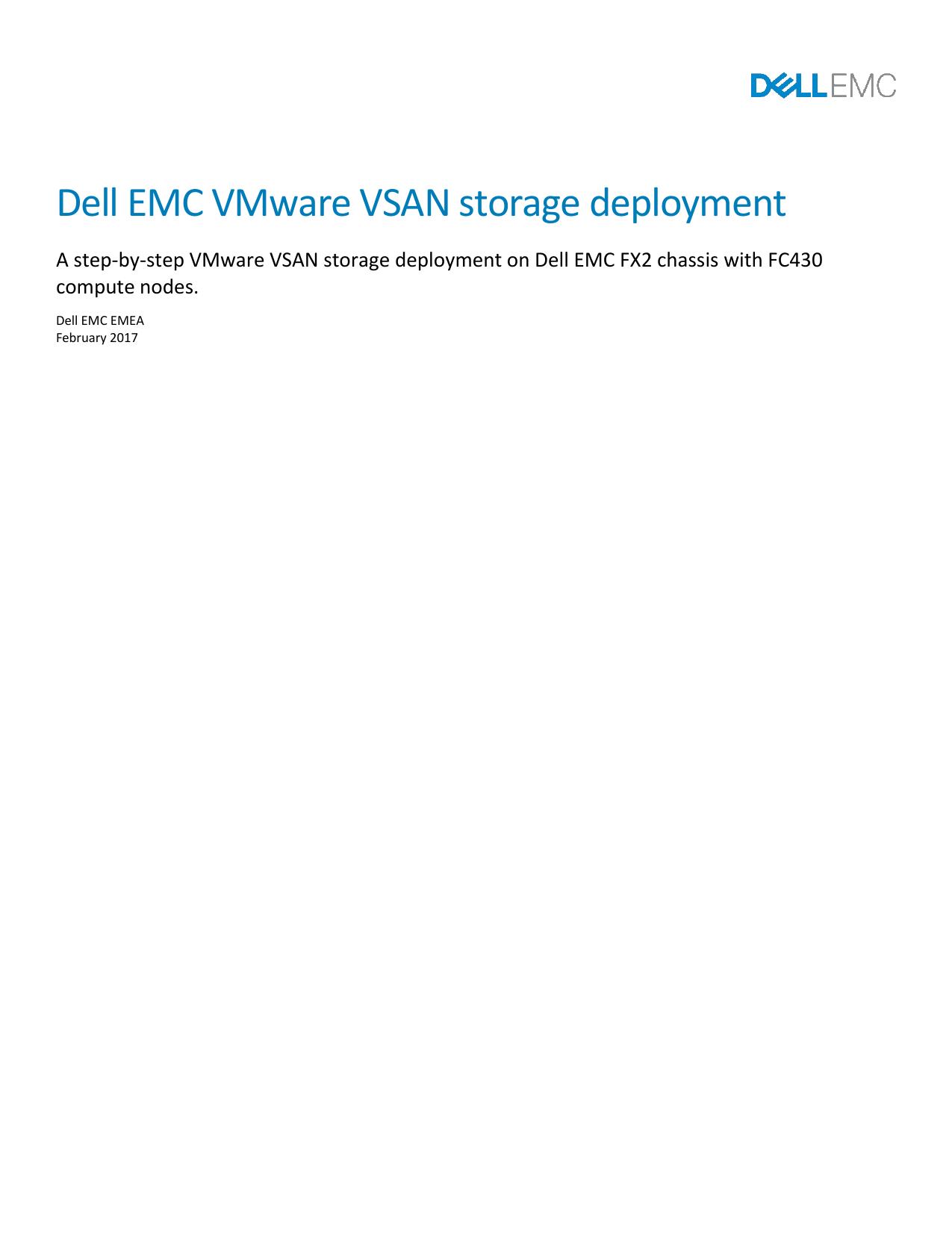 Dell EMC VMware VSAN storage deployment | manualzz com