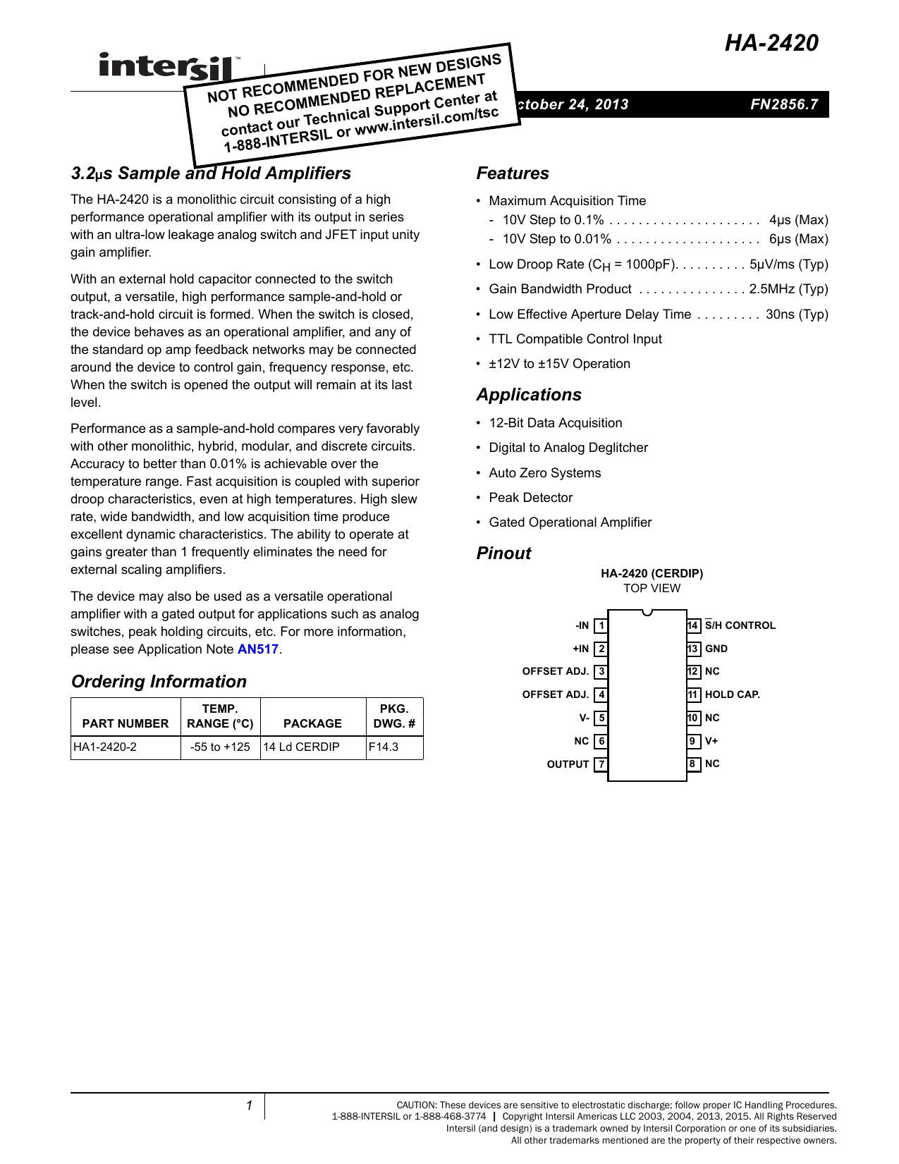 Ha 2420 Datasheet Monolithichybrid Analog To Digital Ad Converter