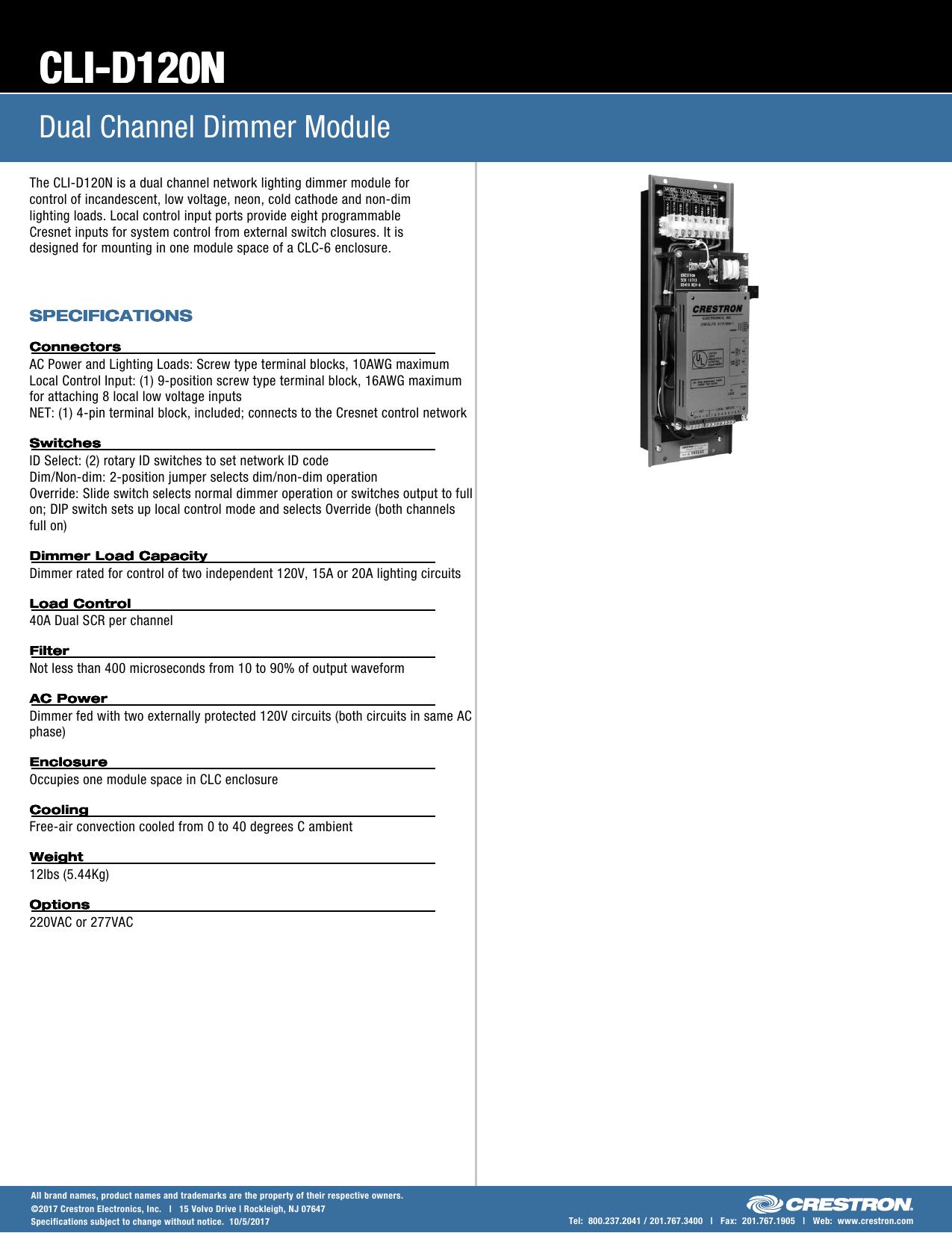 Spec Sheet: CLI-D120N - Dual Channel Dimmer Module
