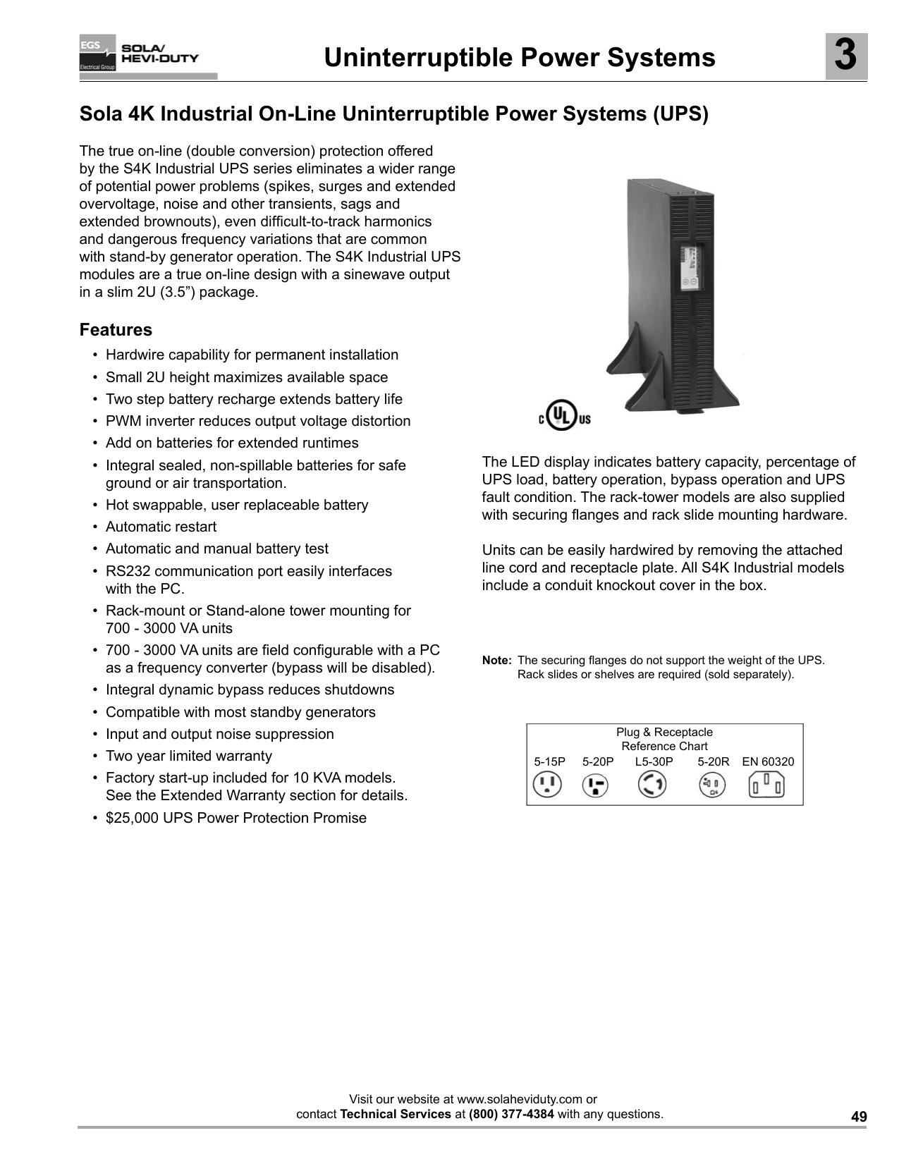 Sola s4k industrial ups manual