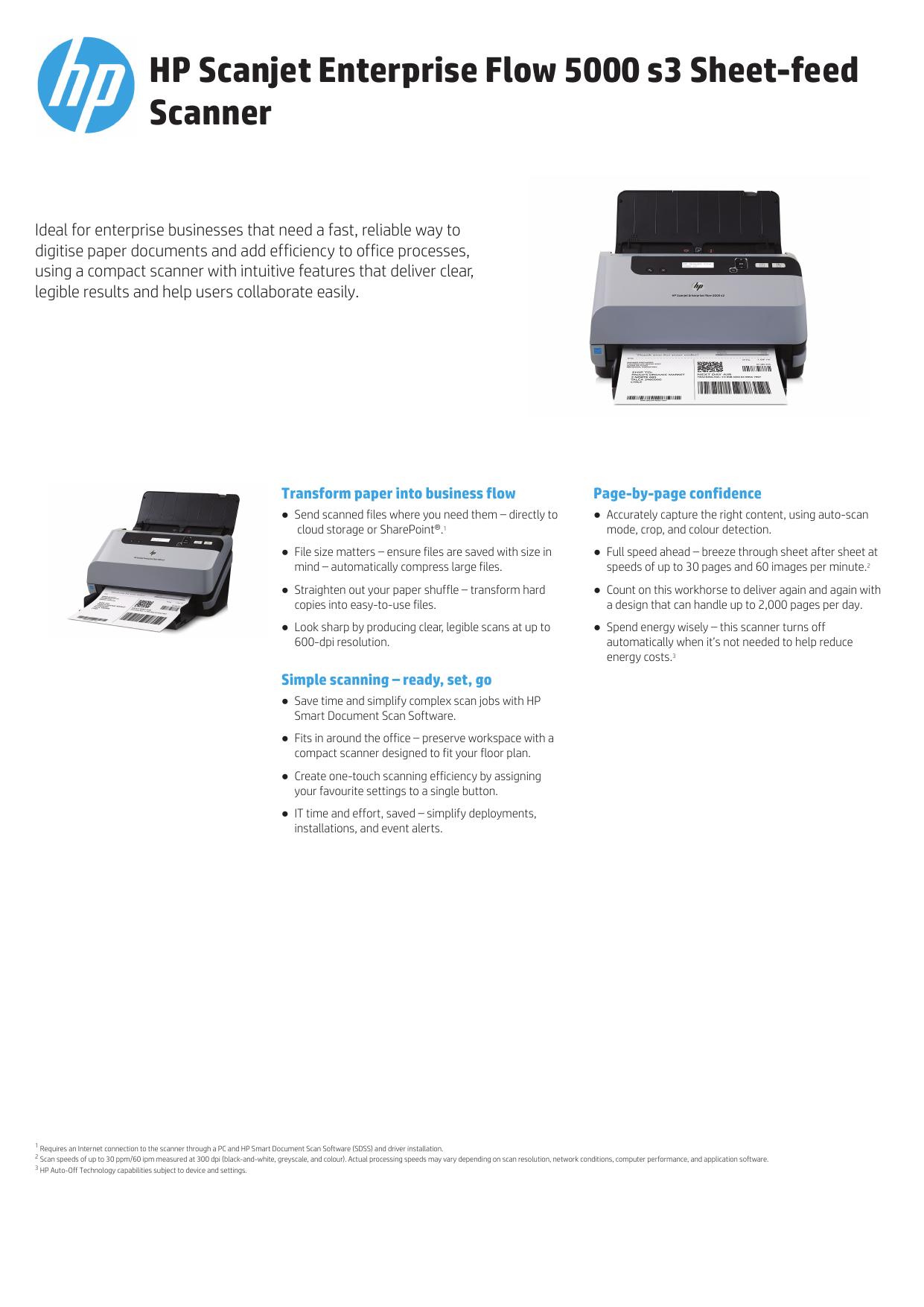Hp Scanjet Enterprise Flow 5000 S3 Sheet Feed Scanner Manualzz