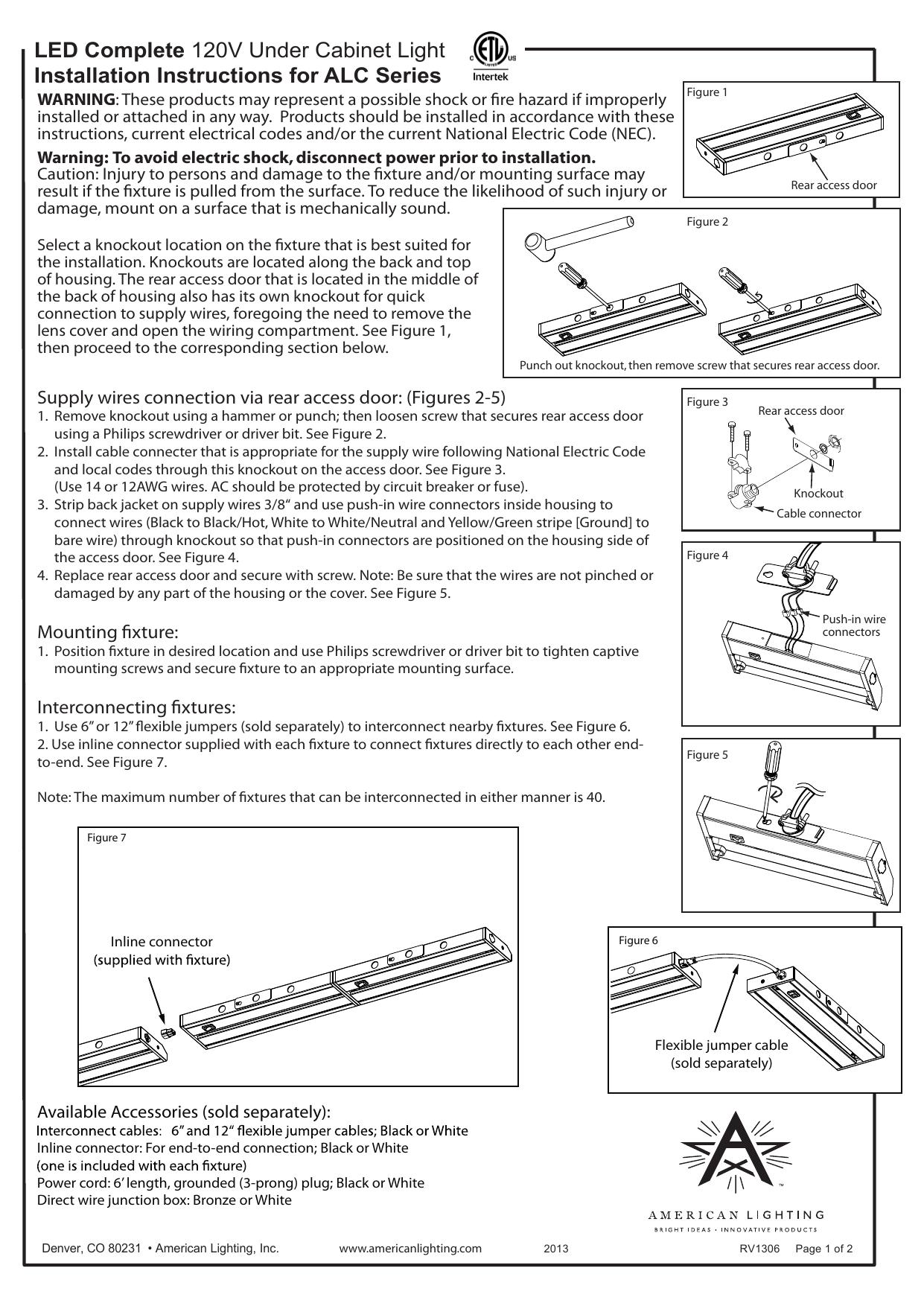 American Lighting Alc 32 Wh Instructions Manualzz