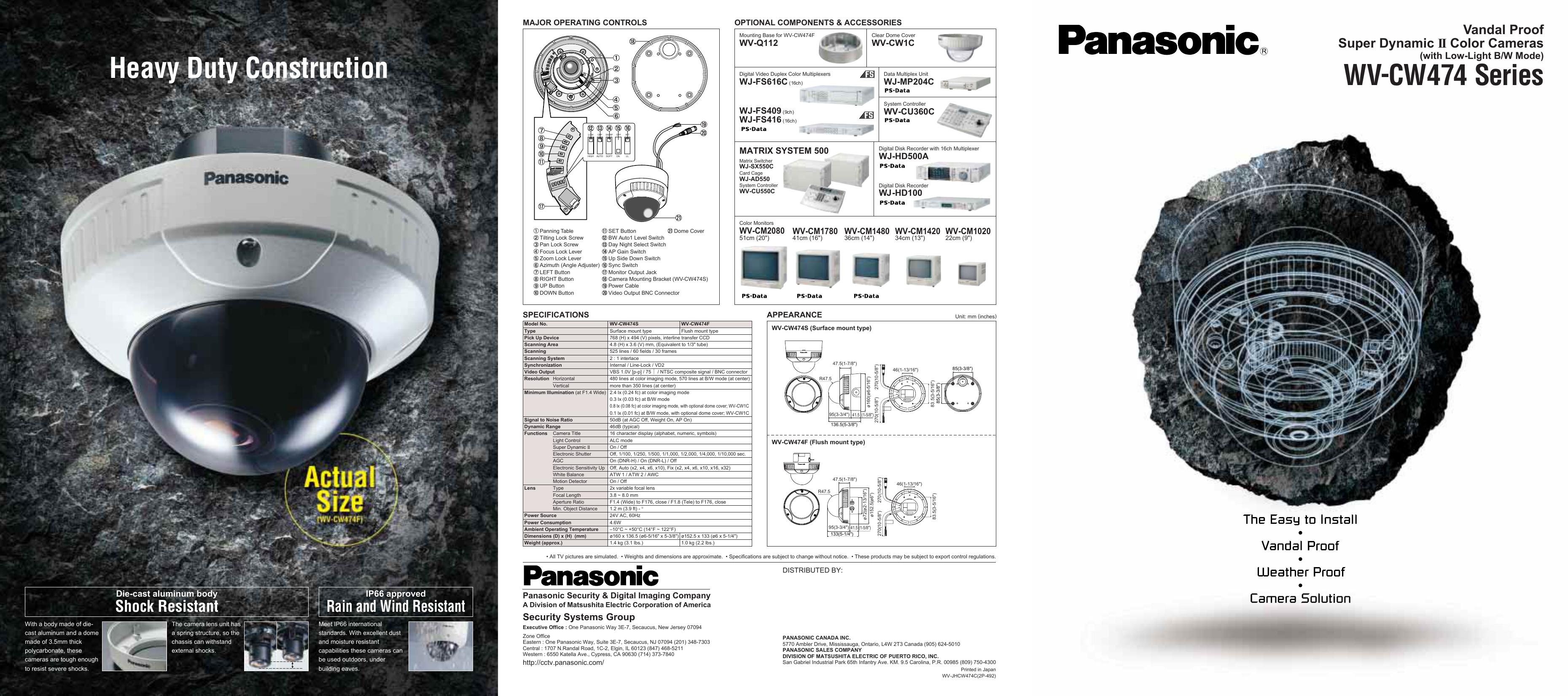 Panasonic Super Dynamic II Color CCTV Camera WV-CW474F