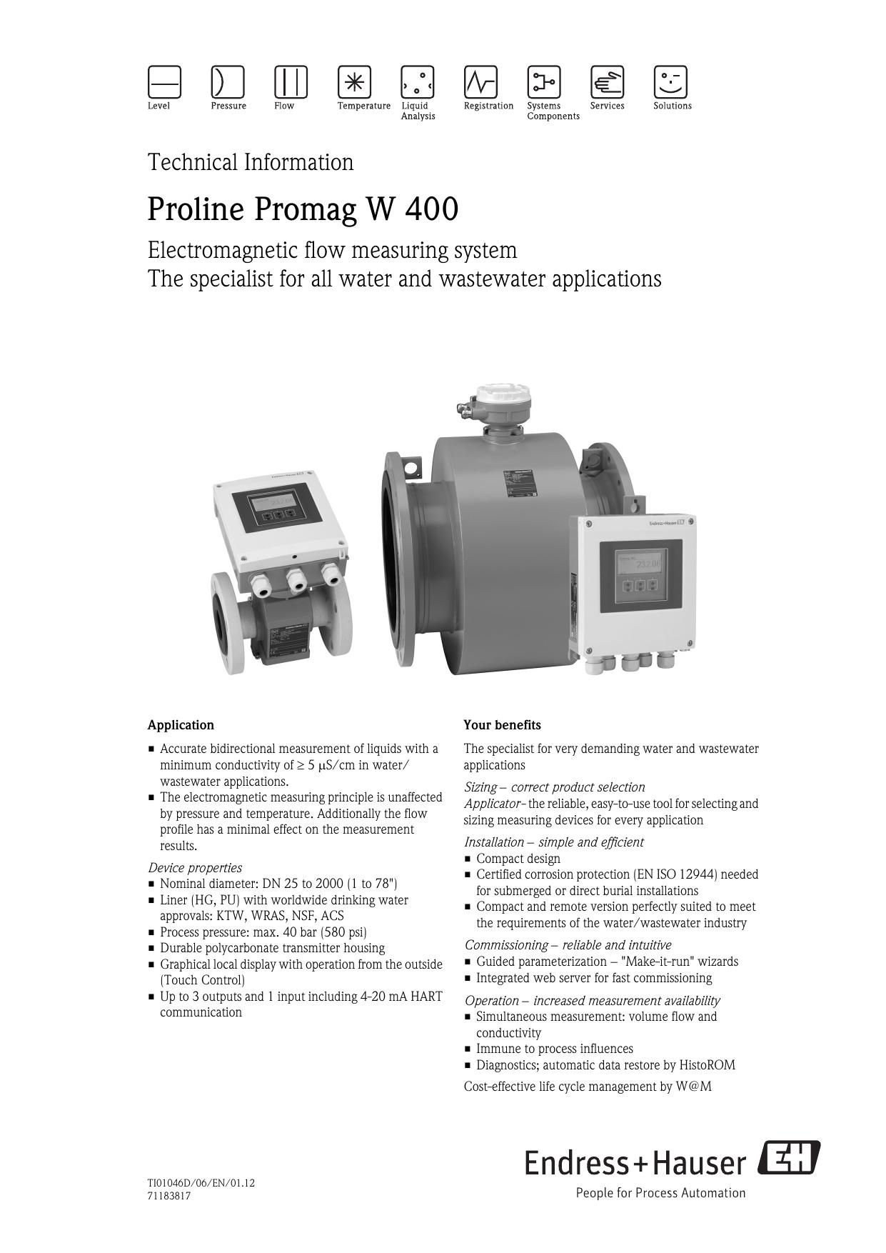 Proline Promag W 400 | manualzz com