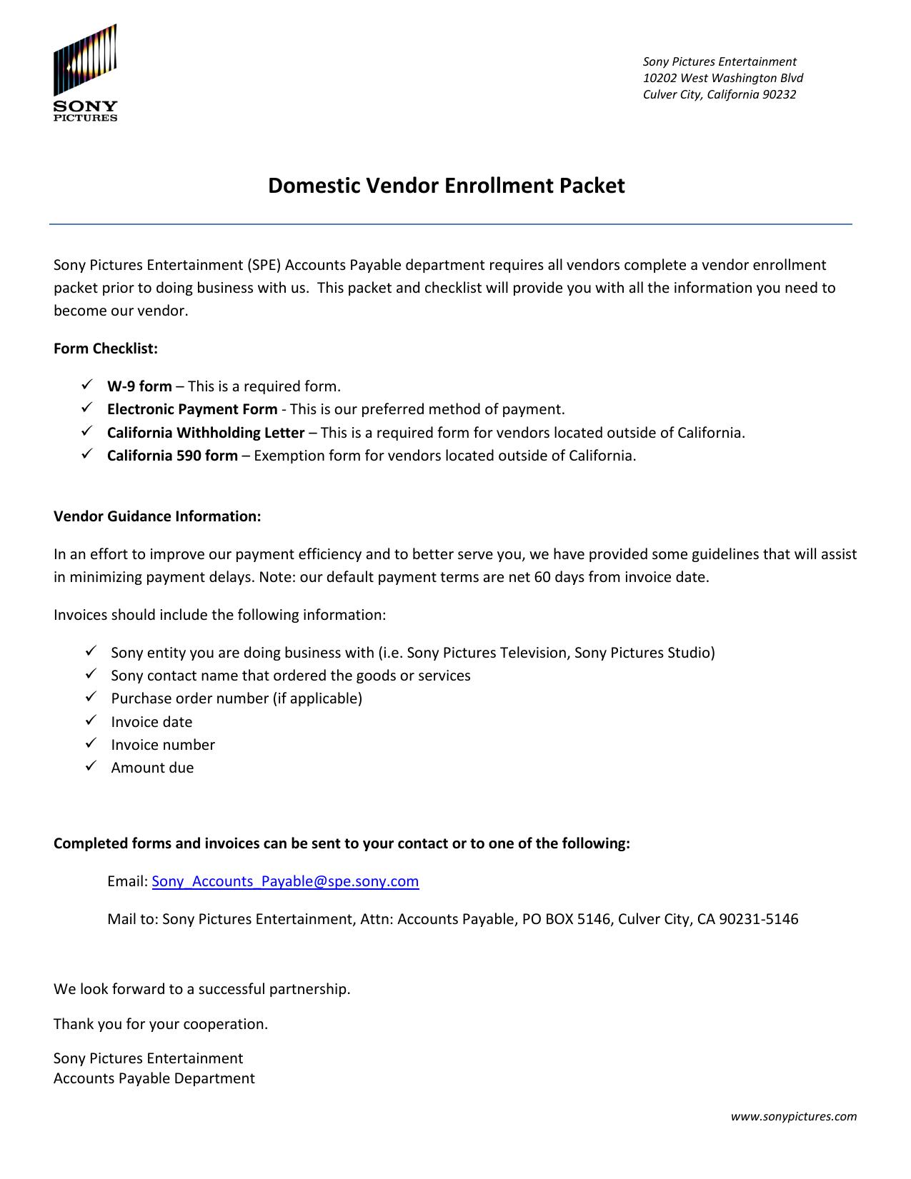 Domestic Vendor Enrollment Packet   Manualzz