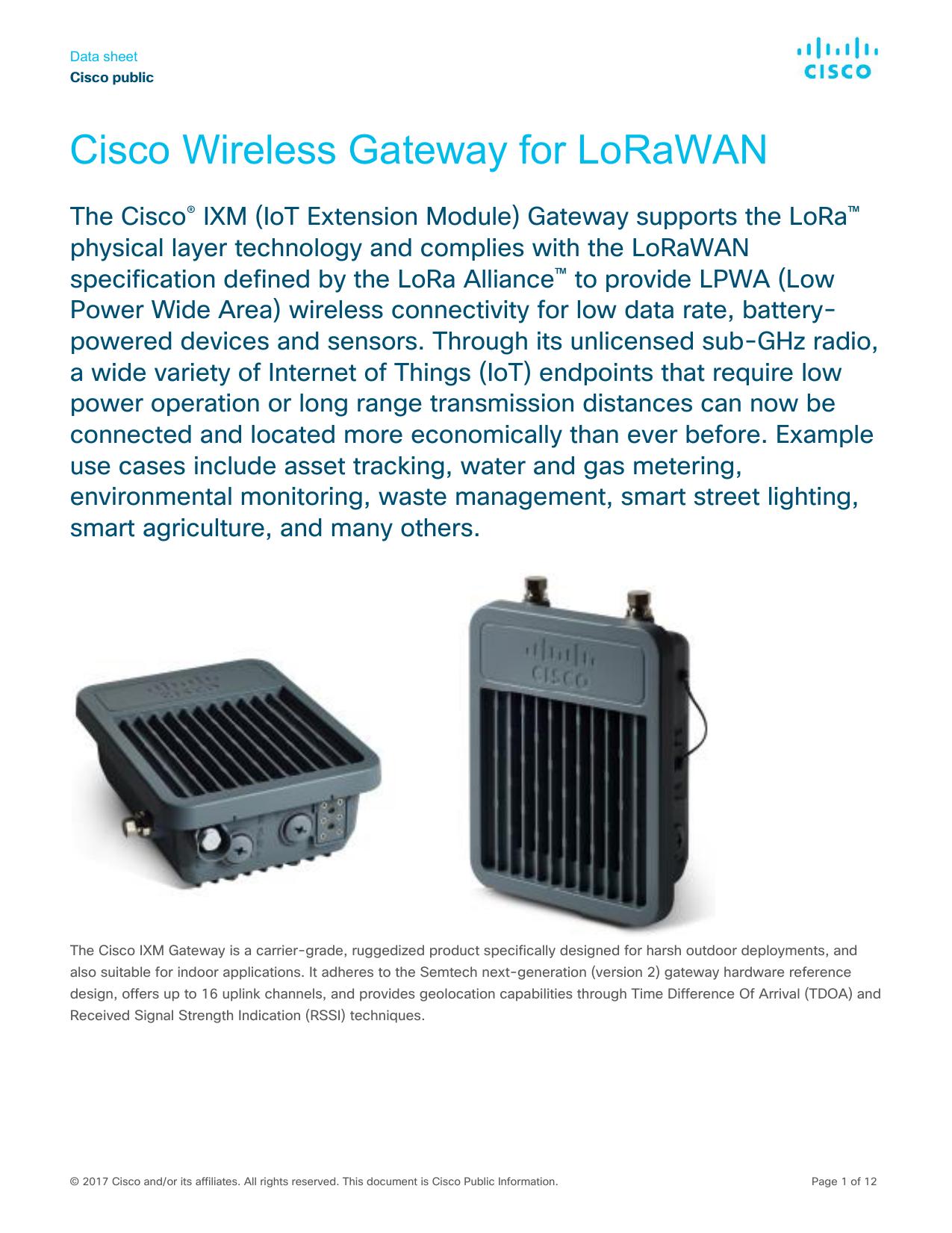 Cisco Wireless Gateway for LoRaWAN Data Sheet | manualzz com