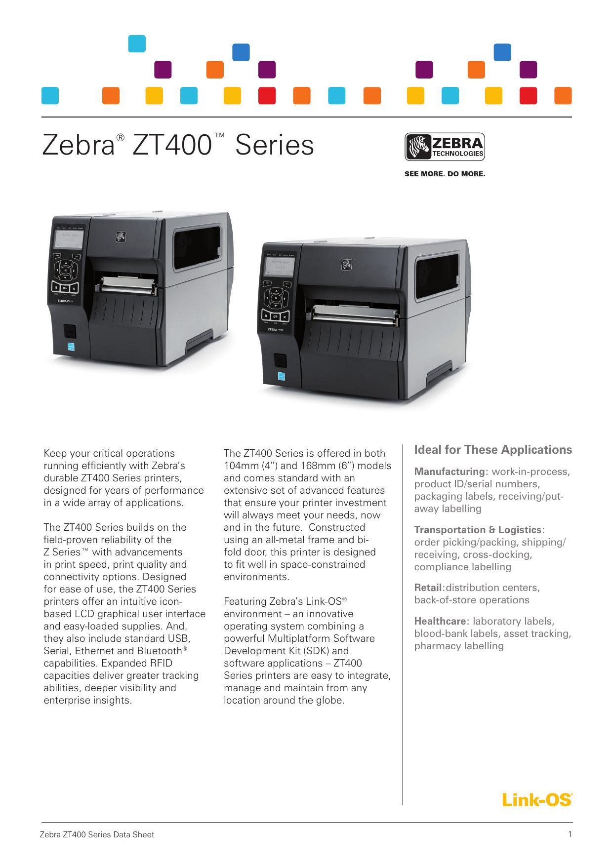 Zebra® ZT400™ Series | manualzz com