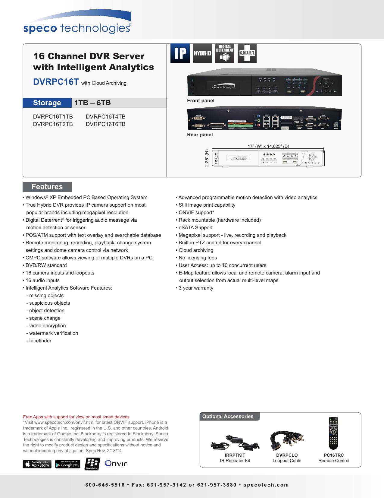 16 Channel DVR Server with Intelligent Analytics   manualzz com