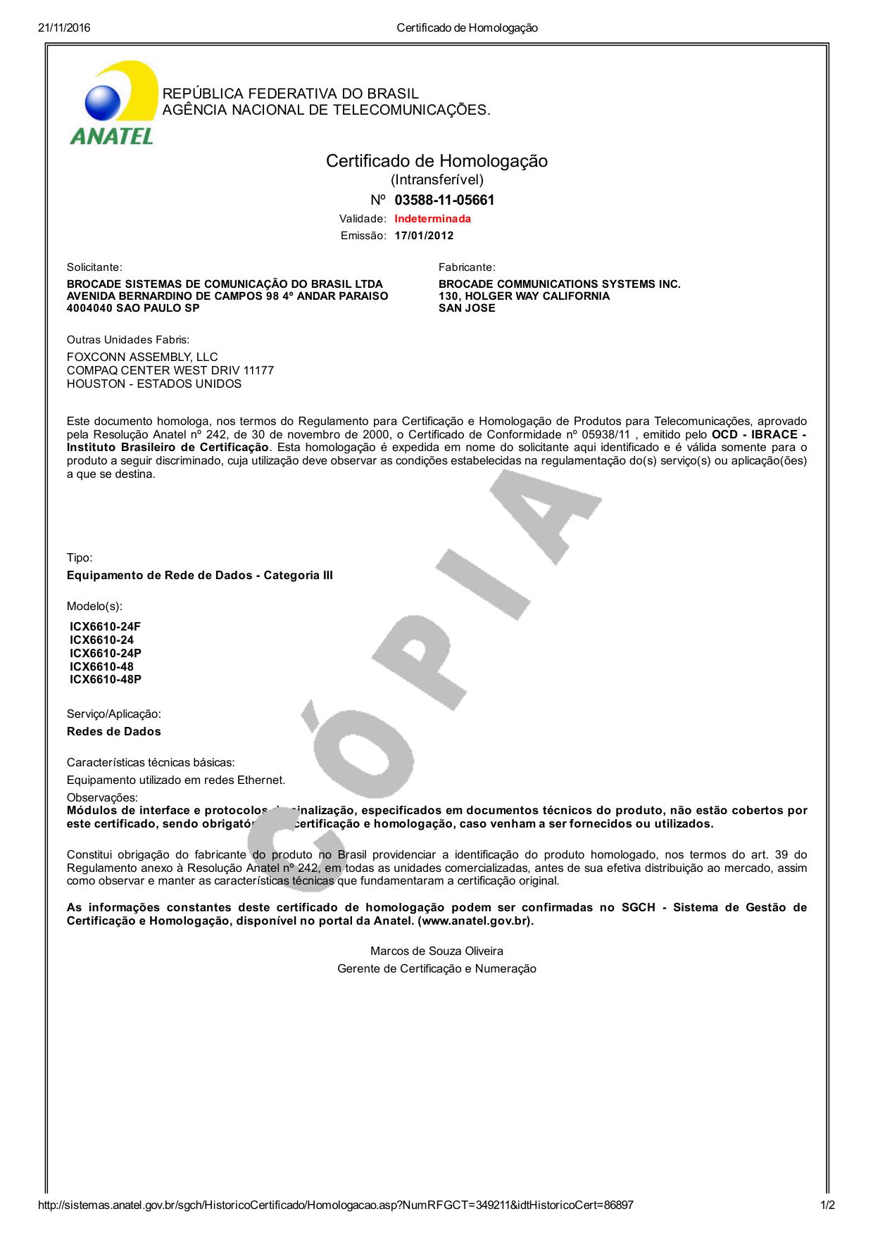 Certificado De Homologação Manualzz Com