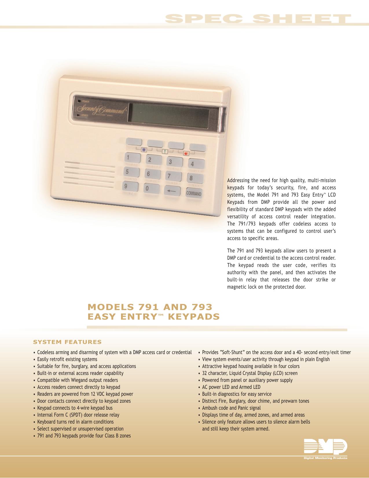 models 791 and 793 easy entry™ keypads - dmp com | manualzz com