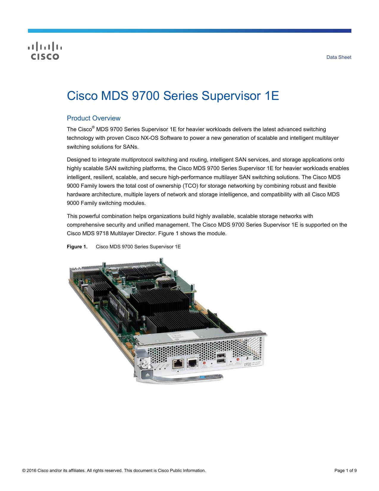 Cisco MDS 9700 Series Supervisor 1E Data Sheet   manualzz com