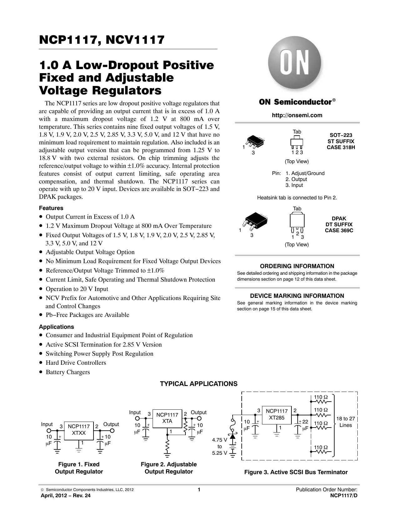 10 PCS NCP1117ST33T3G SOT-223 1.0 A LOW-DROPOUT POSITIVE FIXED REGULATORS