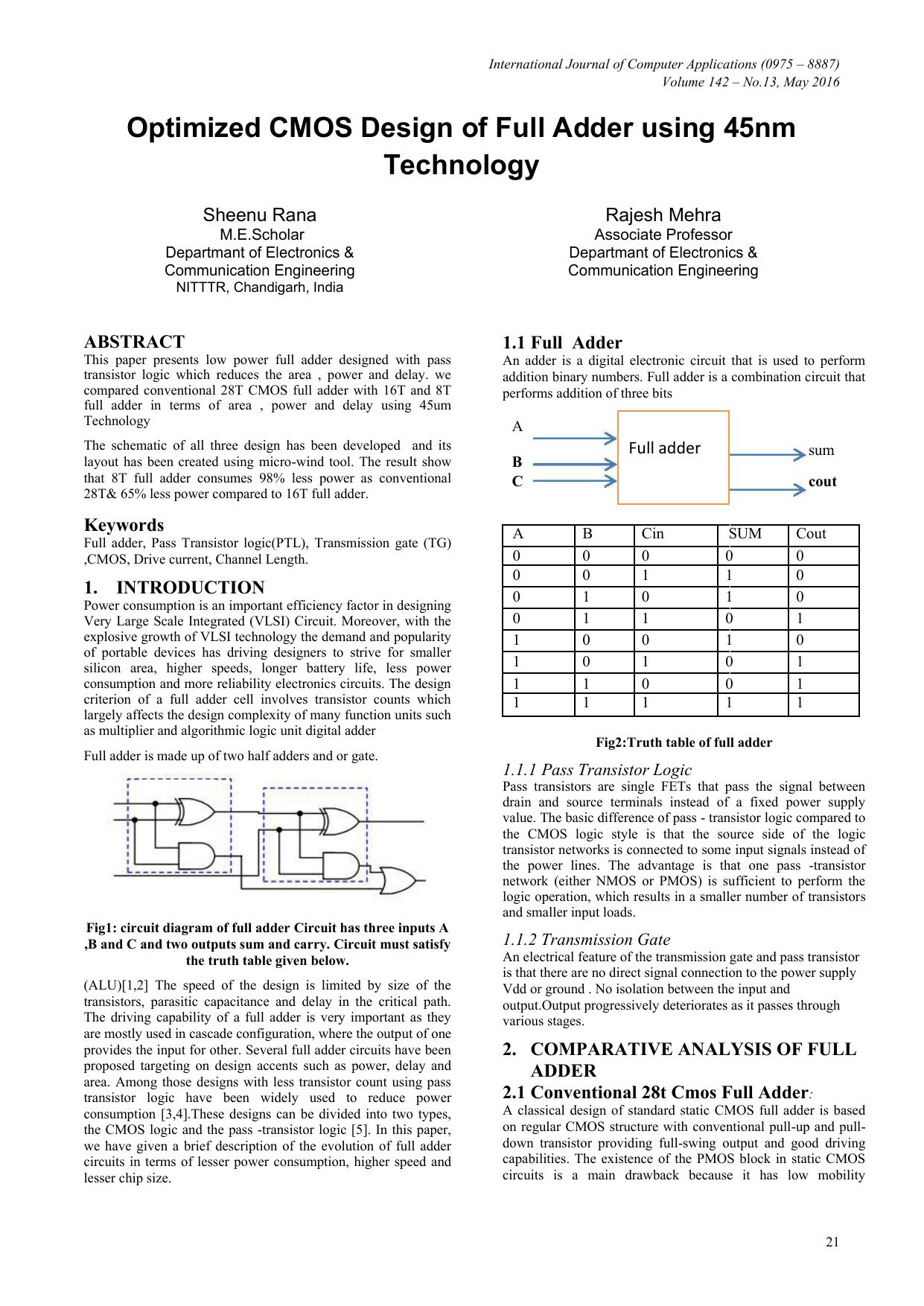 Optimized Cmos Design Of Full Adder Using 45nm Technology Diagram
