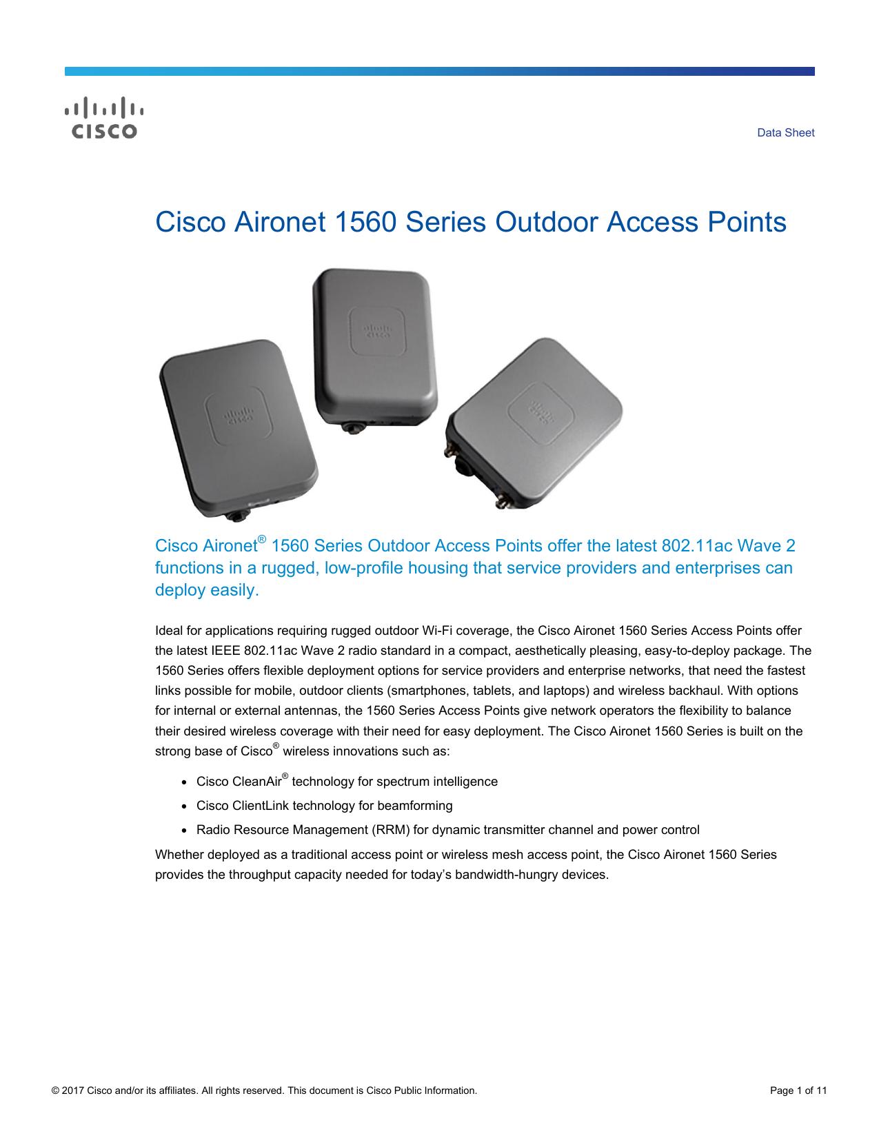Cisco Aironet 1560 Series Outdoor Access Points Data Sheet