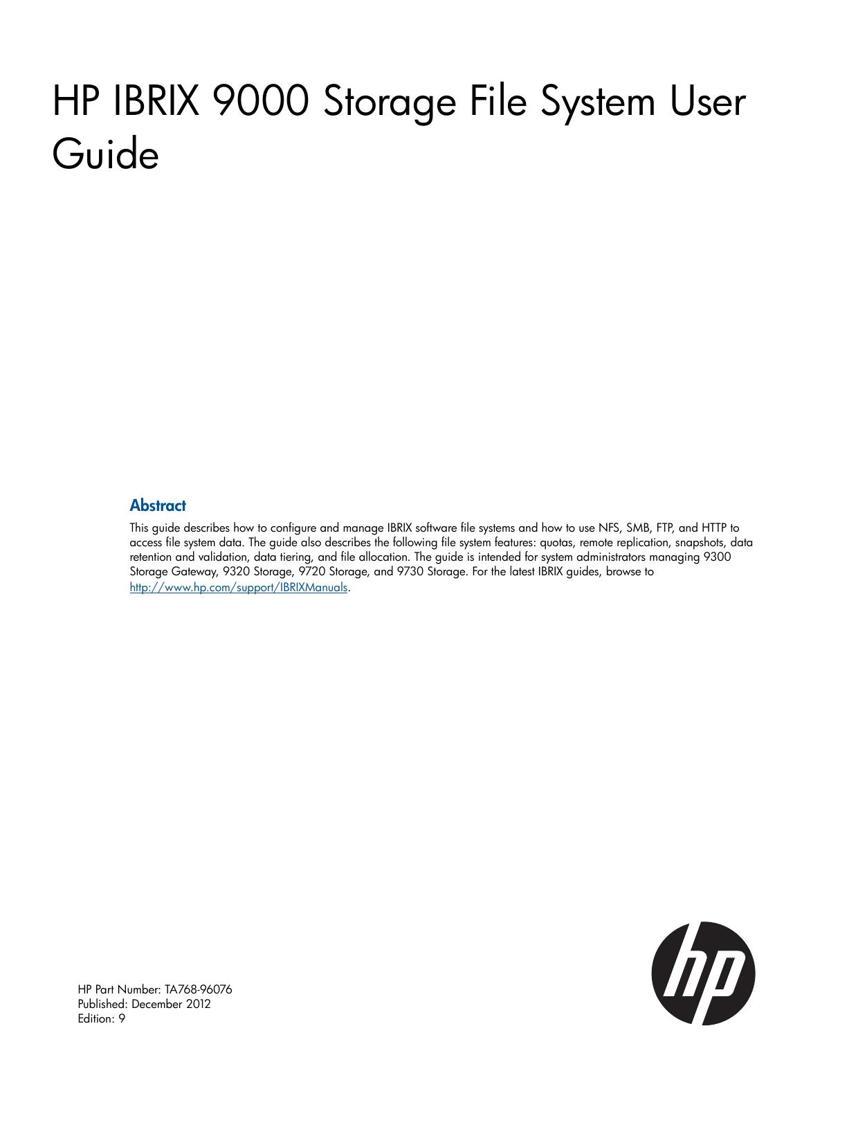 HP IBRIX 9000 Storage File System User Guide | manualzz com