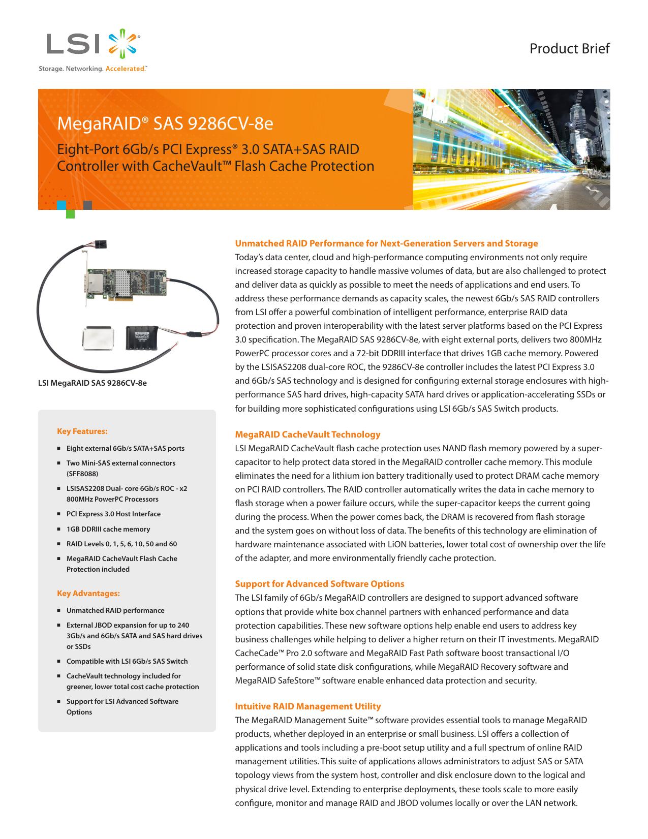 MegaRAID® SAS 9286CV-8e - CNET Content Solutions | manualzz com