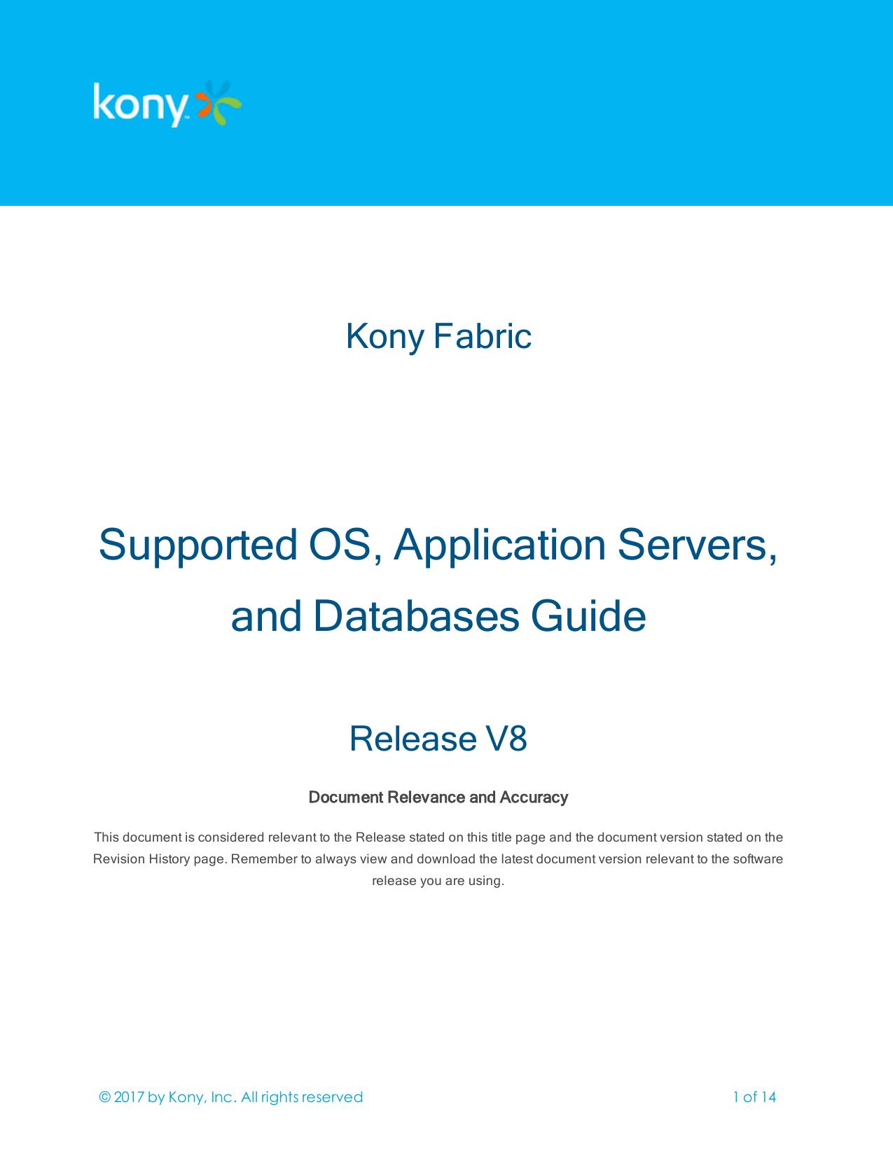 Kony Fabric Supported OS, Application Servers   manualzz com